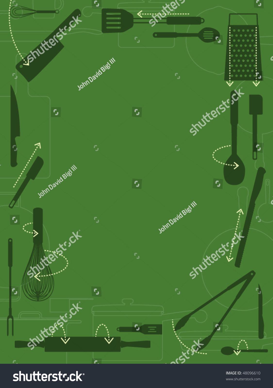 Kitchen Utensils Border kitchen utensils with directional arrows decorative border stock