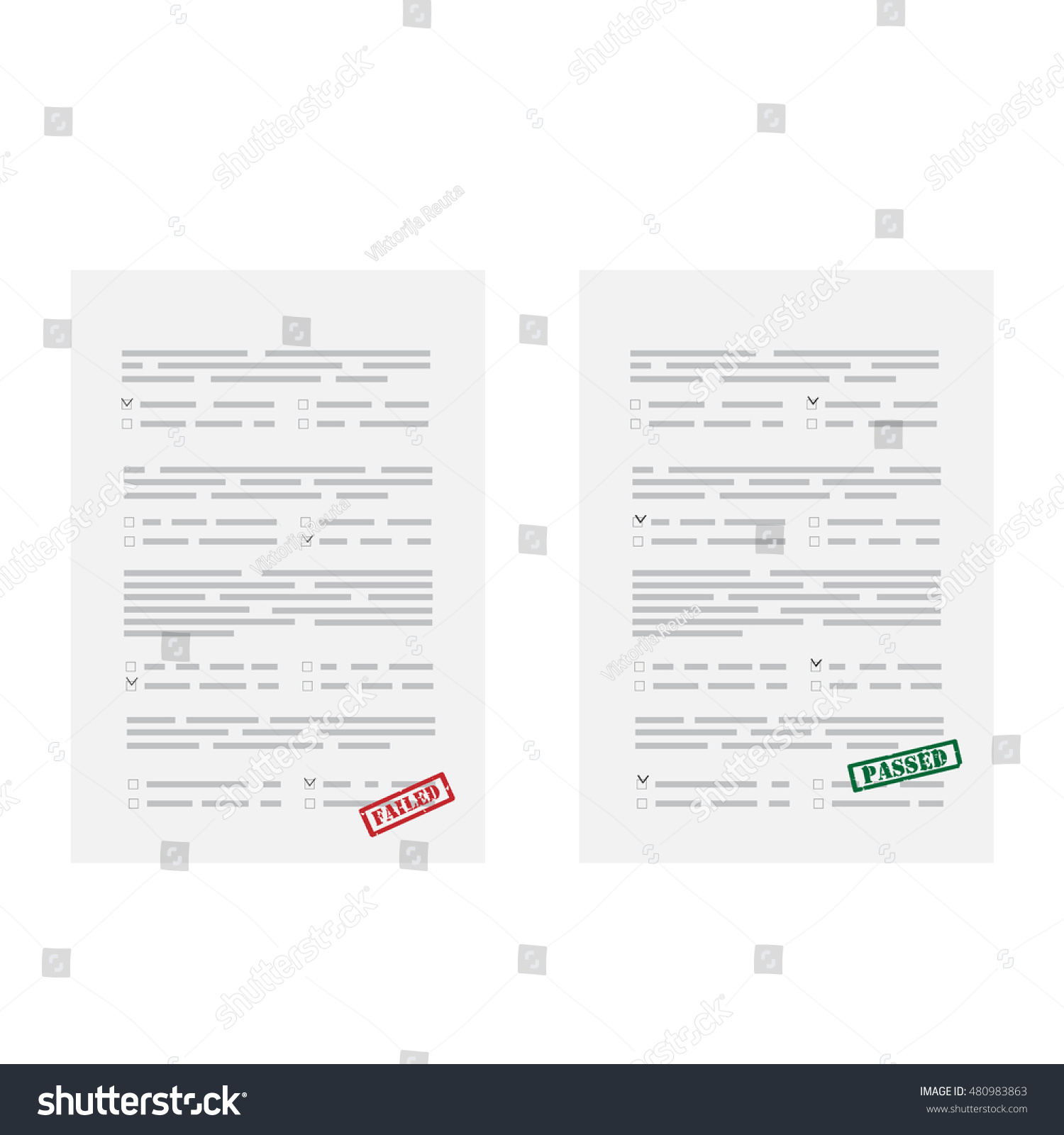 Vector Illustration Two Test Exam Papers Stock Vector