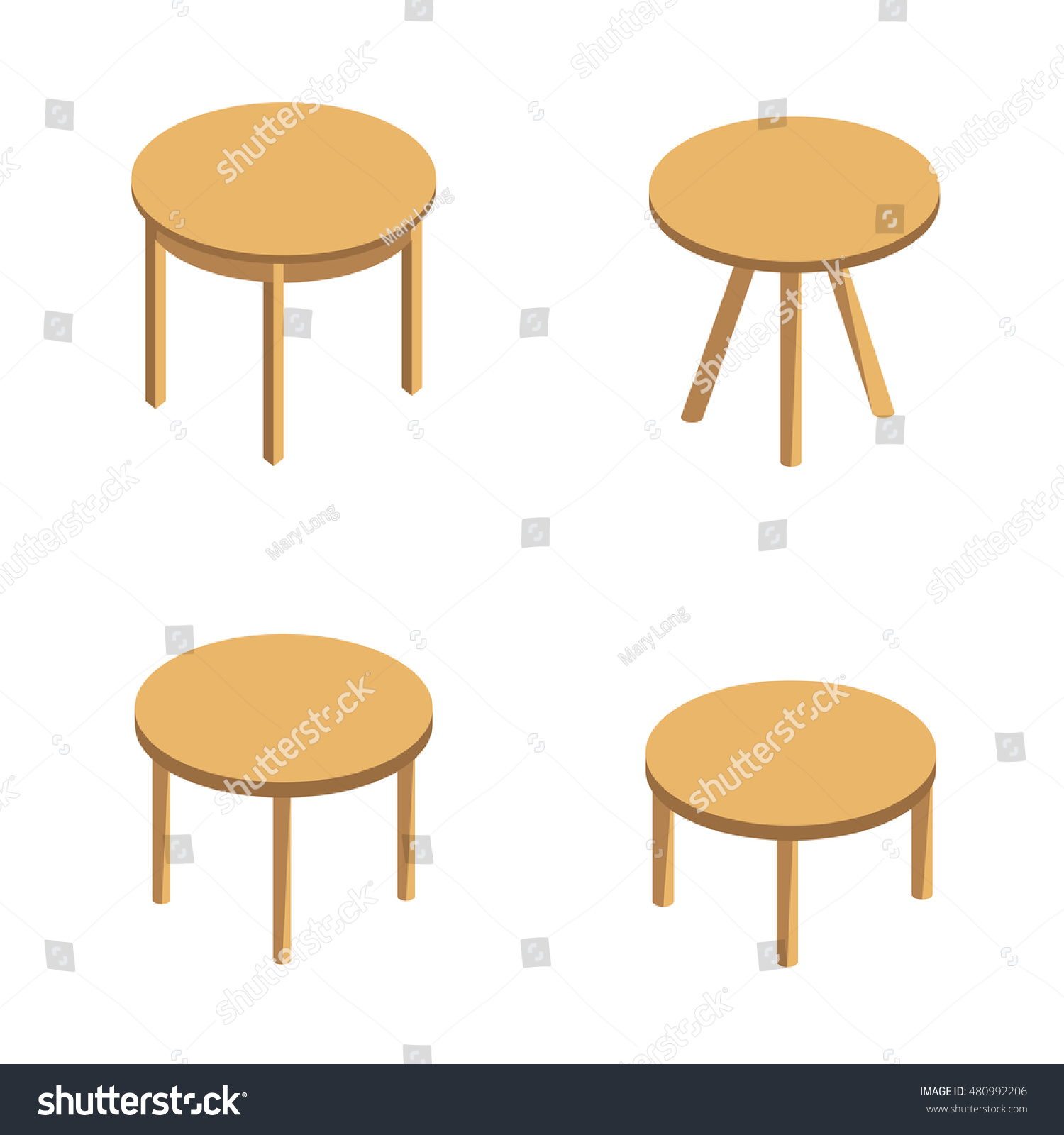 Isometric vector set round tables round stock vector 480992206 isometric vector set of round tables round coffee table small table with three legs geotapseo Images