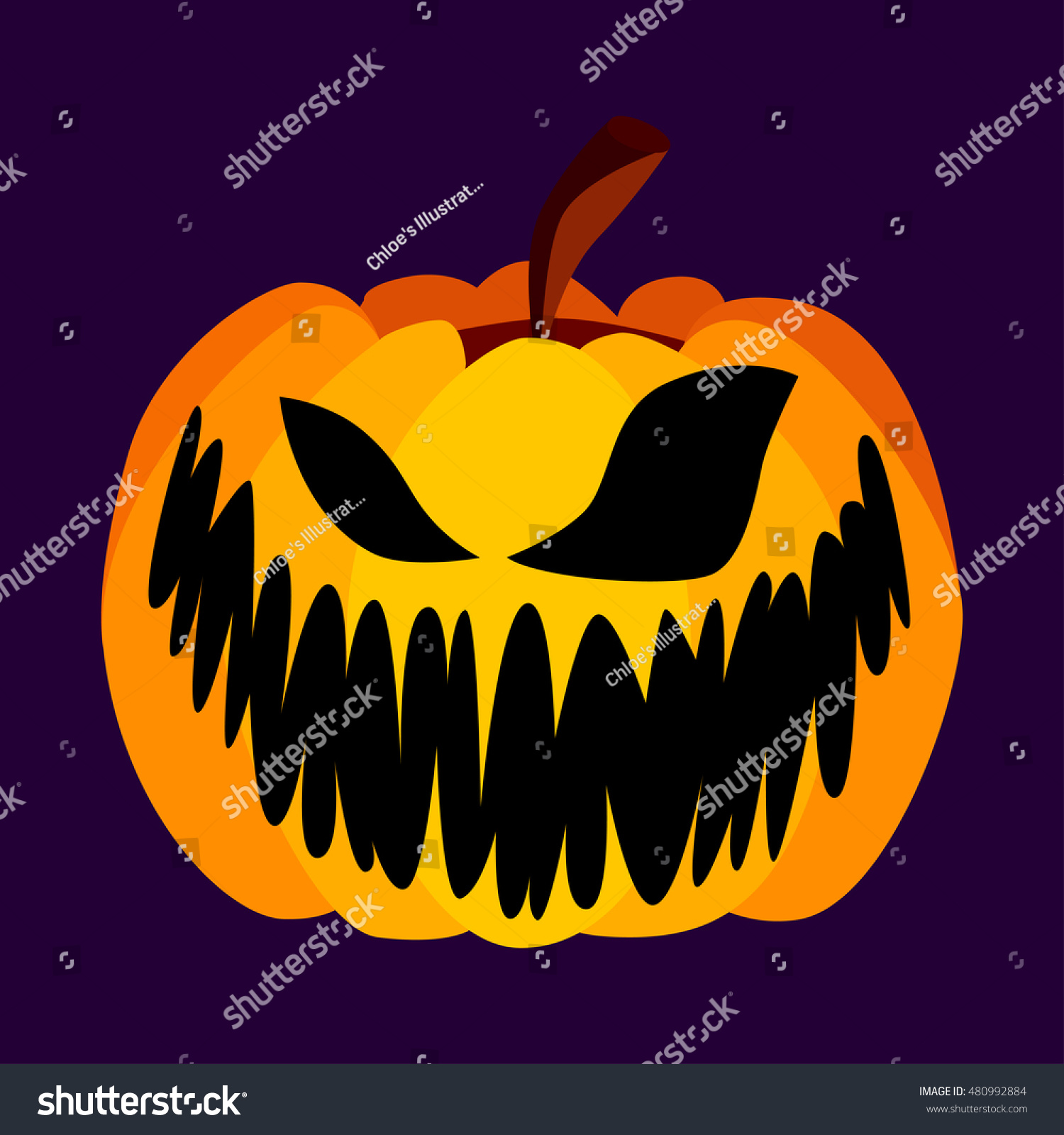 vector orange festive scary halloween pumpkin with a scary face on purple background spooky halloween
