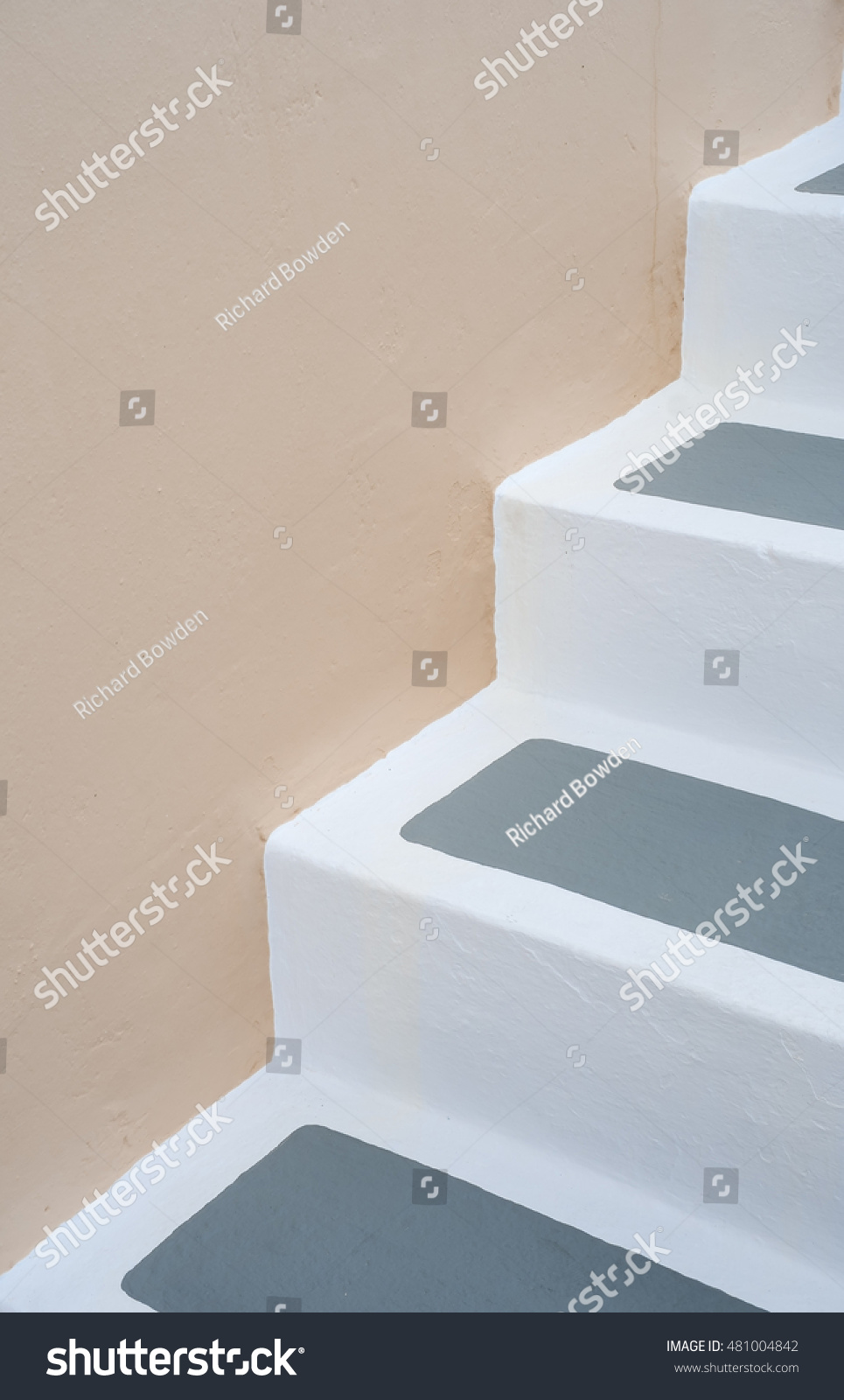 White Painted Steps Oia Stock Photo (Royalty Free) 481004842 ...