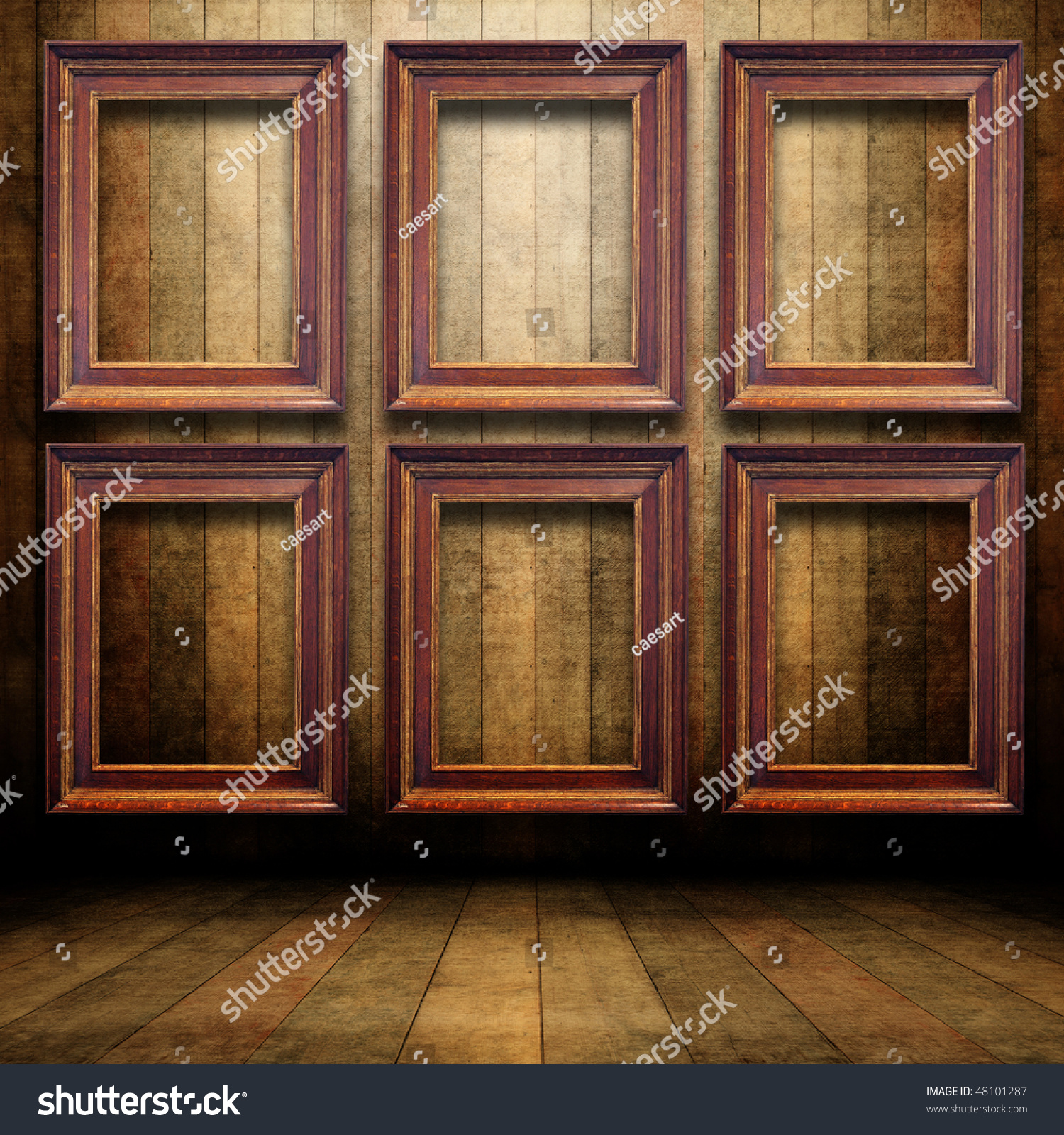 Old Wooden Interior Wooden Frames On Stock Illustration 48101287 ...