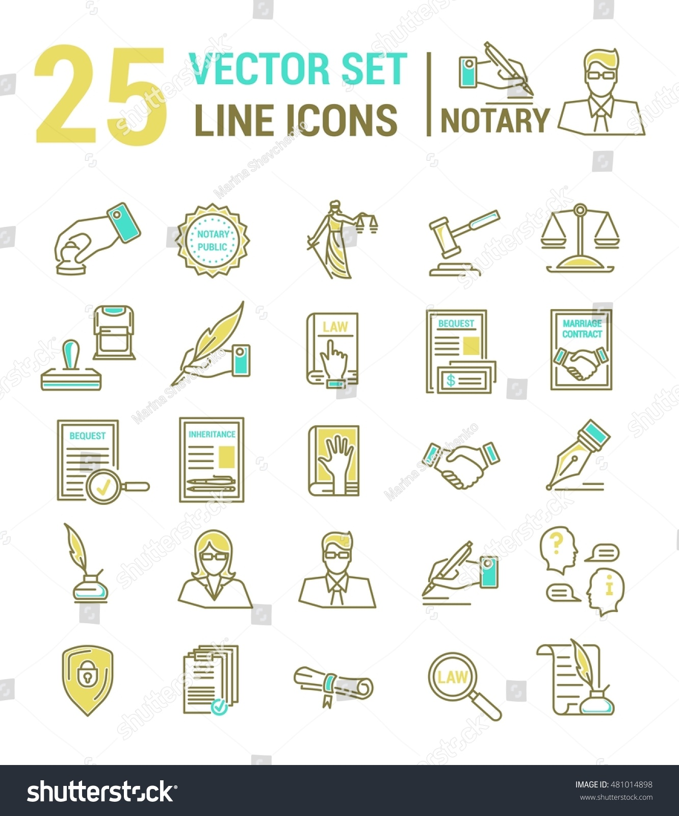 Vector set icons linear design notary stock vector 481014898 vector set of icons in a linear design notary and notary office set of yelopaper Images
