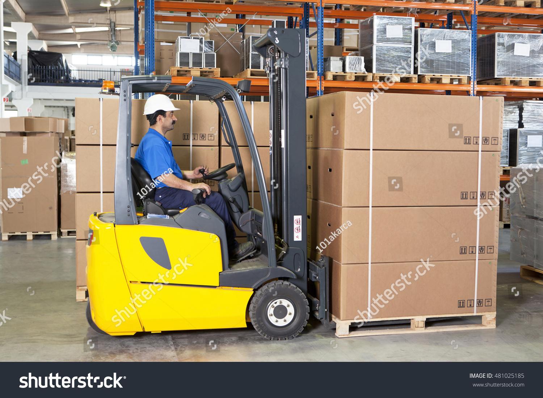 Forklift making truck transportation