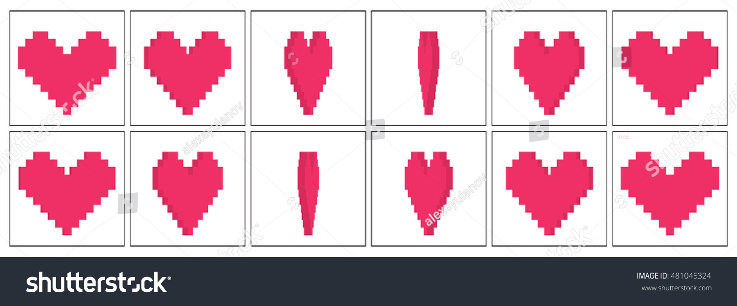 voxel heart rotation animation sequence sprite stock vector royalty