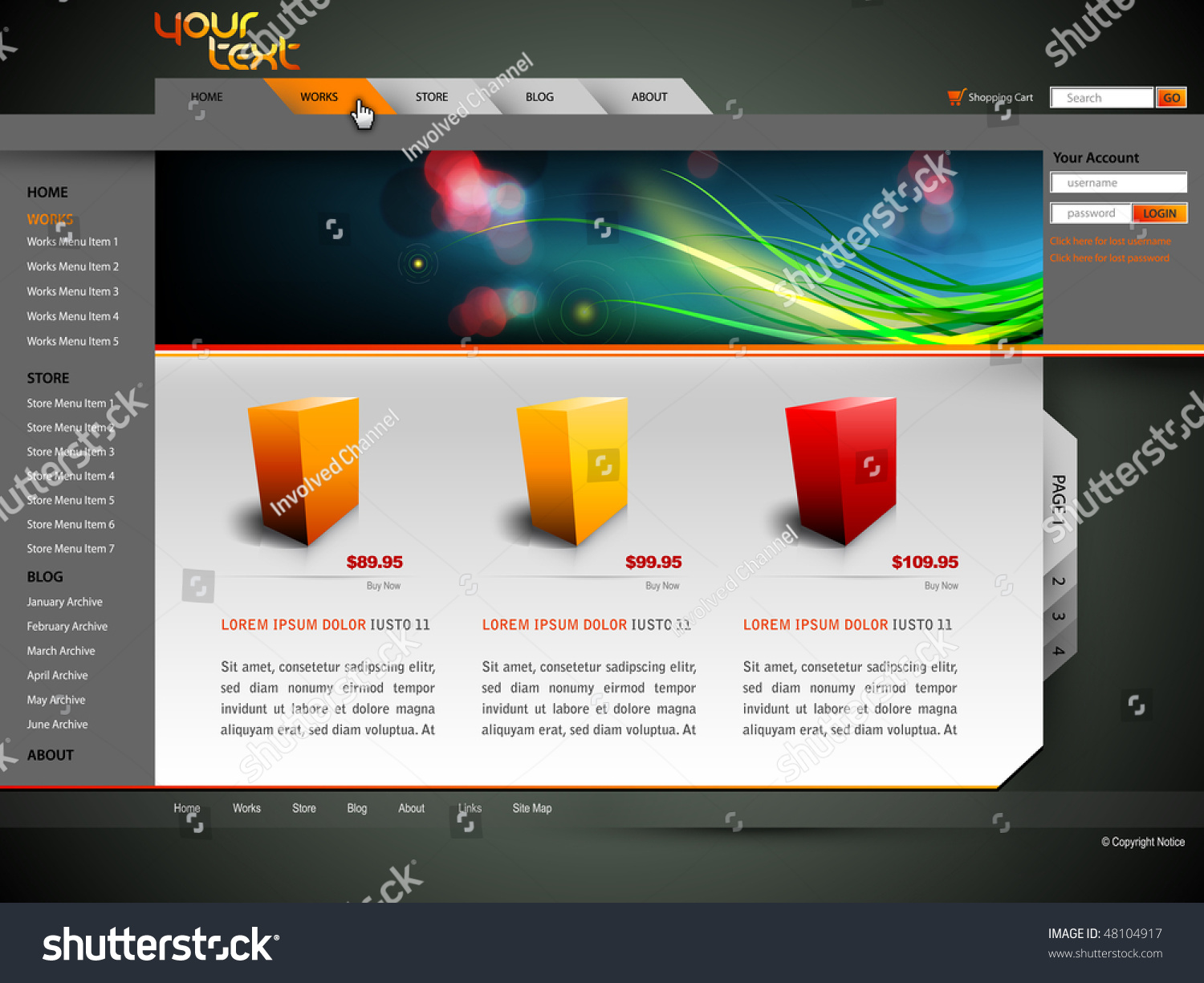 Modern Web Site Design Vector Template Stock Vector (Royalty Free ...