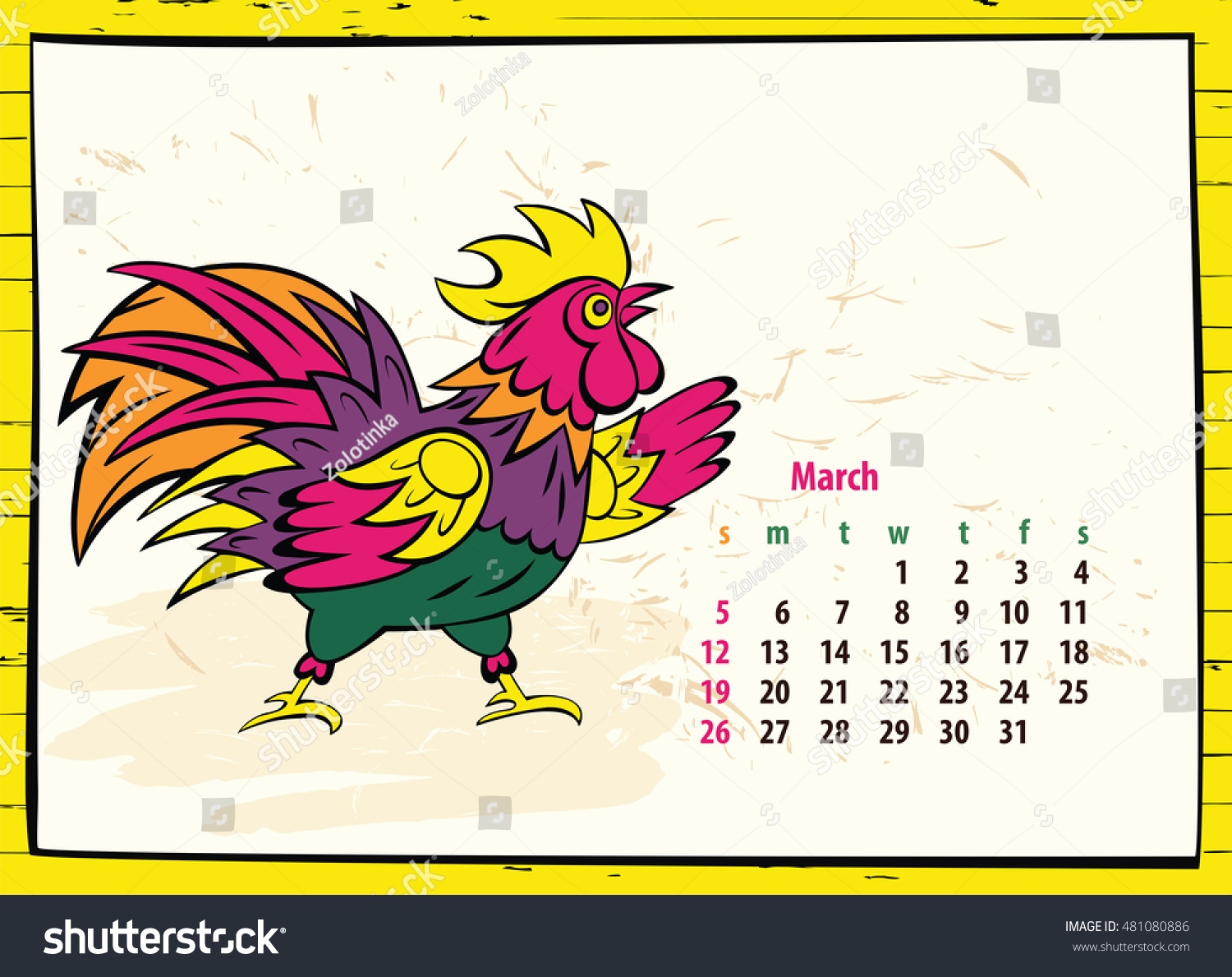 Chinese Calendar Illustration : Calendar chinese new year rooster stock illustration