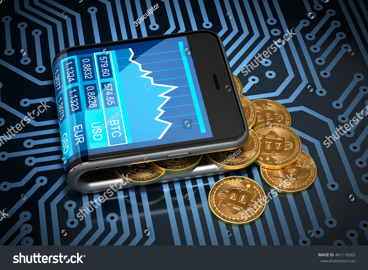 Concept Of Virtual Wallet And Bitcoins On Printed Circuit Board Illustration A Green Id 481119265