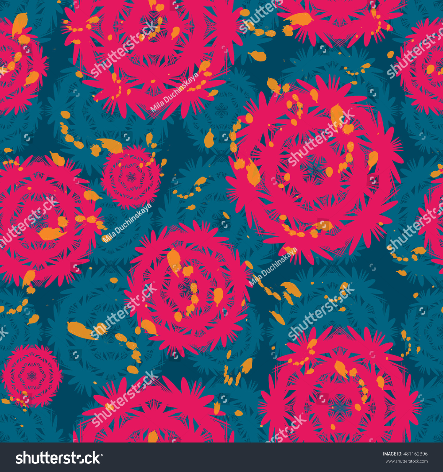 Dark Blue Background Abstract Pink Flowers Stock Vector Royalty