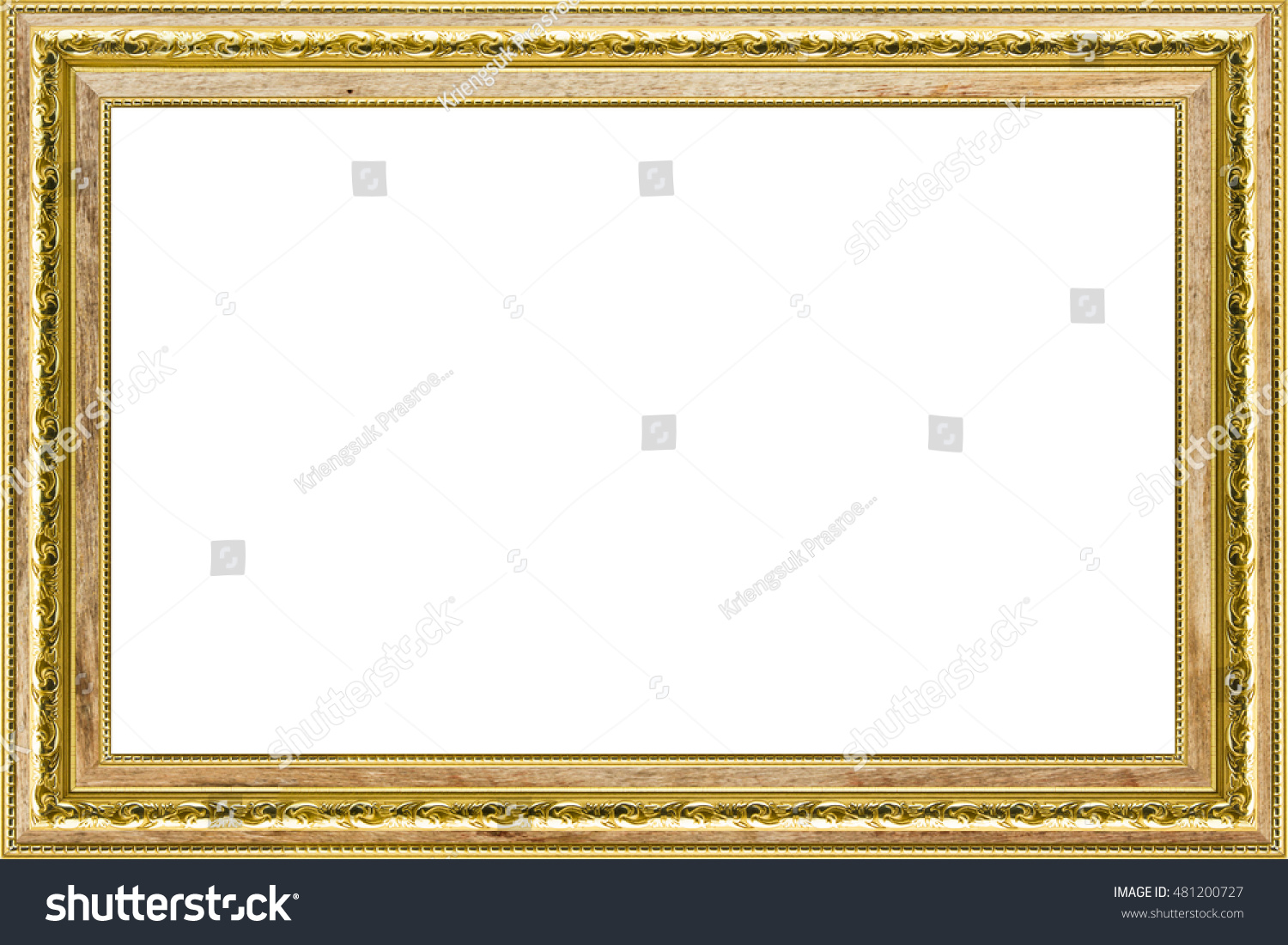 Classic Vintage Wood Gilded Frame Isolated Stock Photo (Edit Now ...