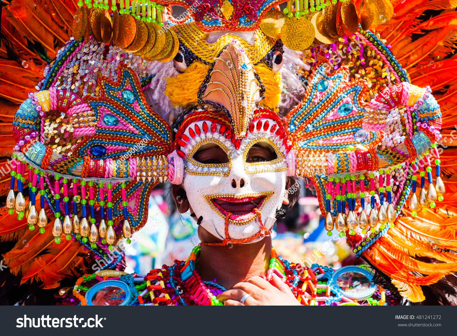 Parade of colorful smiling mask at Masskara Festival Bacolod City Philippines