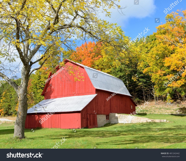 Old Barn Fall Colors Rural Michigan Stock Photo 481242442