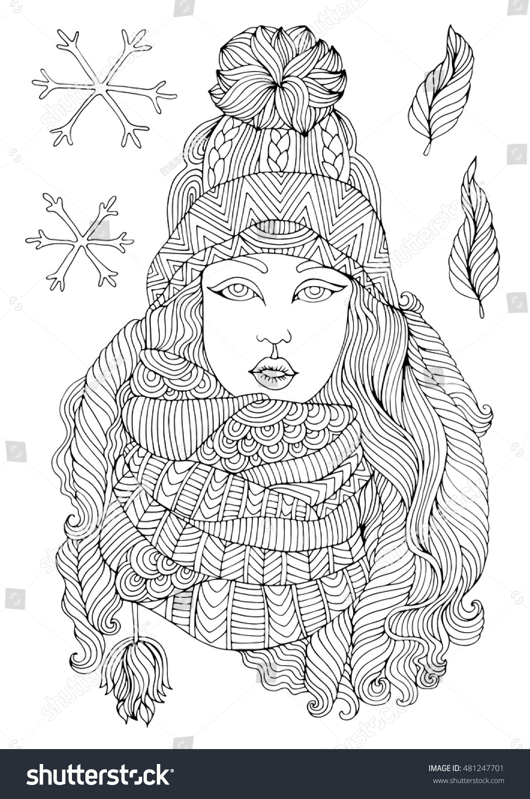 Vector Hand Drawn Fashion Young Girl Stock Vector