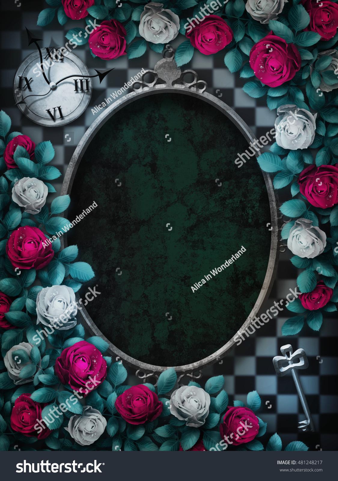 不思議の国のアリス チェスの背景に赤いバラと白いバラ 時計と鍵
