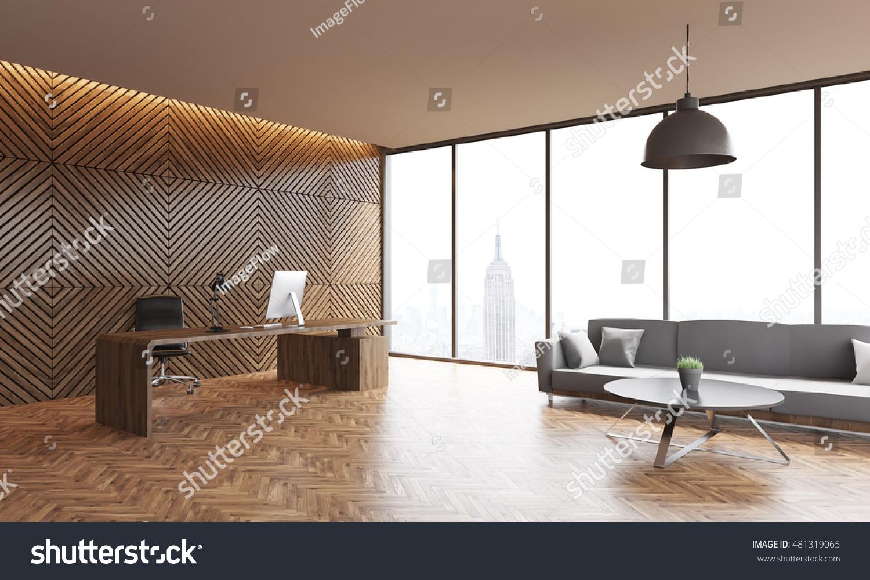 Office Interior Wooden Walls Parquet Floor Stock Illustration