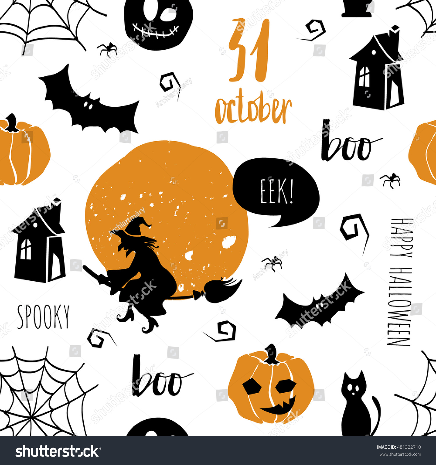 Halloween Seamless Pattern Texture Cat Bat Stock Vector 481322710 ...