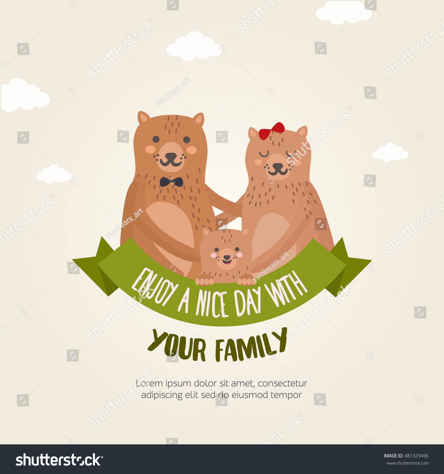 Greeting Card Template With Bear Family Cute Animals Character Mom Dad And Child