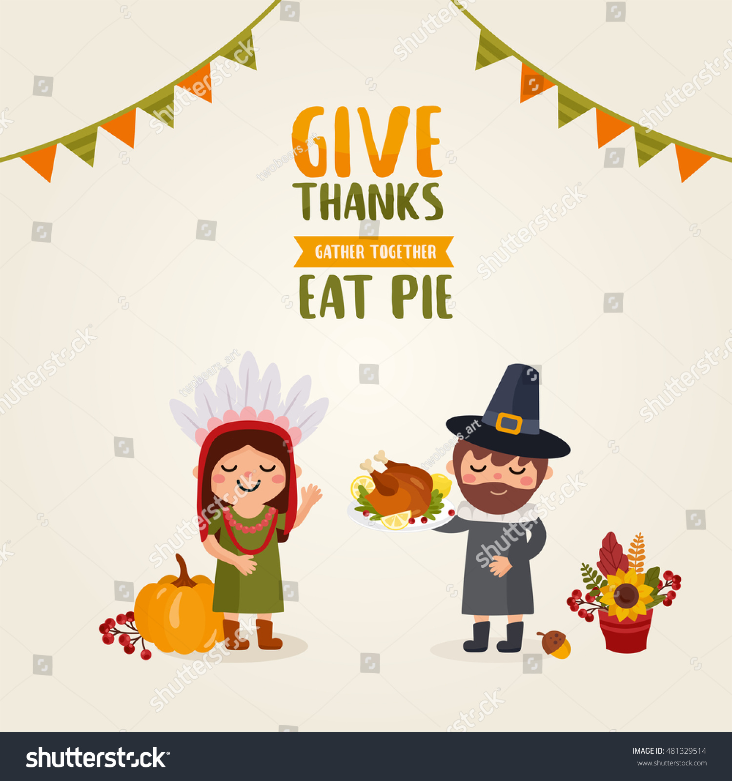 Happy thanksgiving day greeting card people stock vector 481329514 greeting card with people characters and holiday food great design for kristyandbryce Gallery