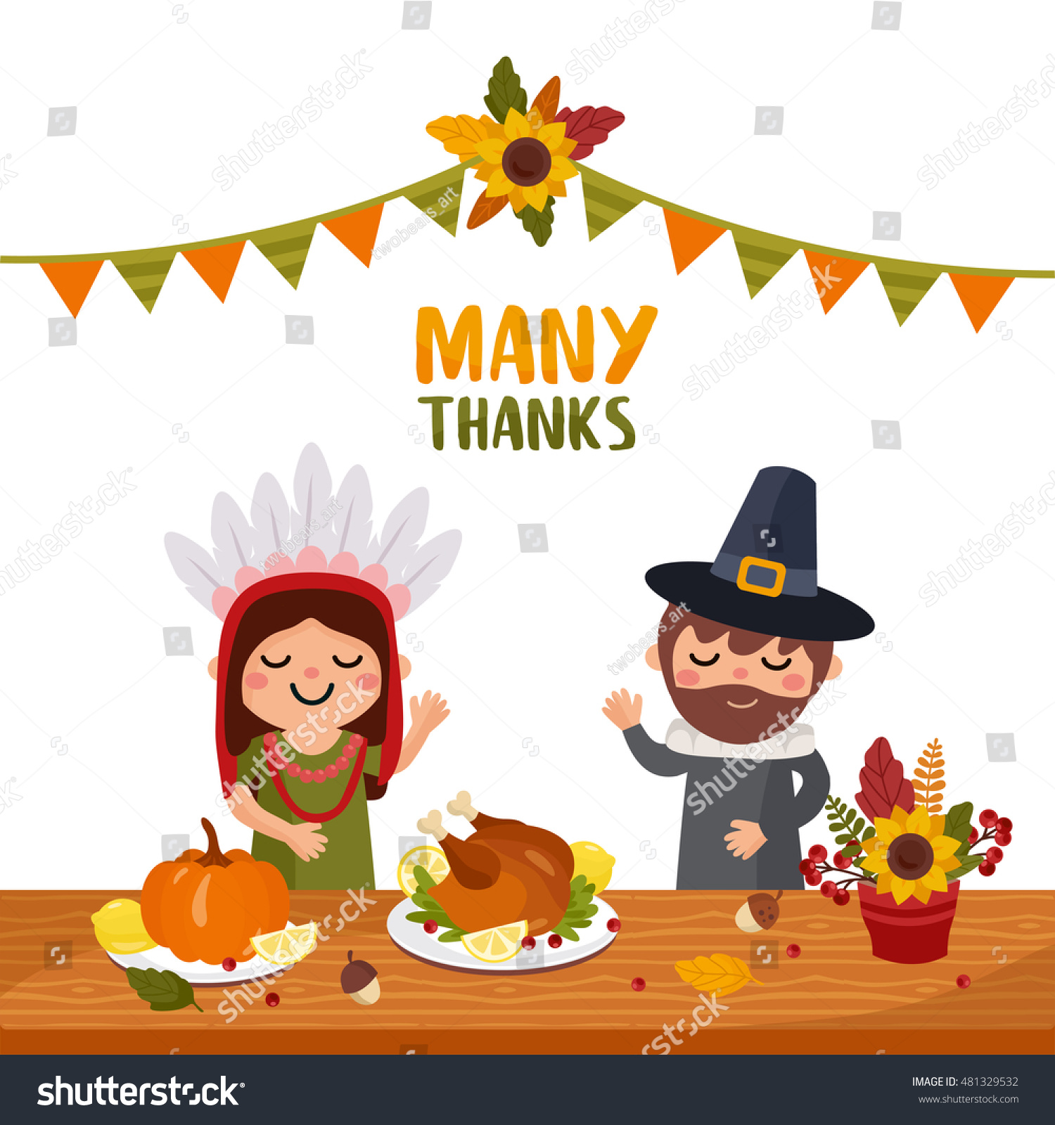Happy thanksgiving day greeting card feast stock vector 481329532 happy thanksgiving day greeting card with feast table people characters and holiday food kristyandbryce Choice Image