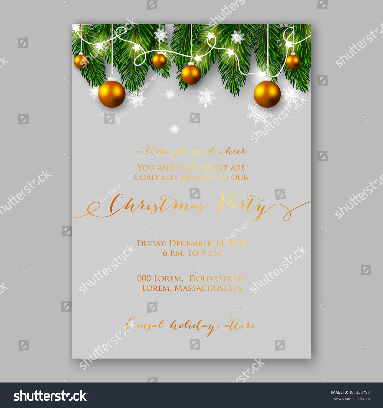 christmas party invitation holiday wreath needle stock vector