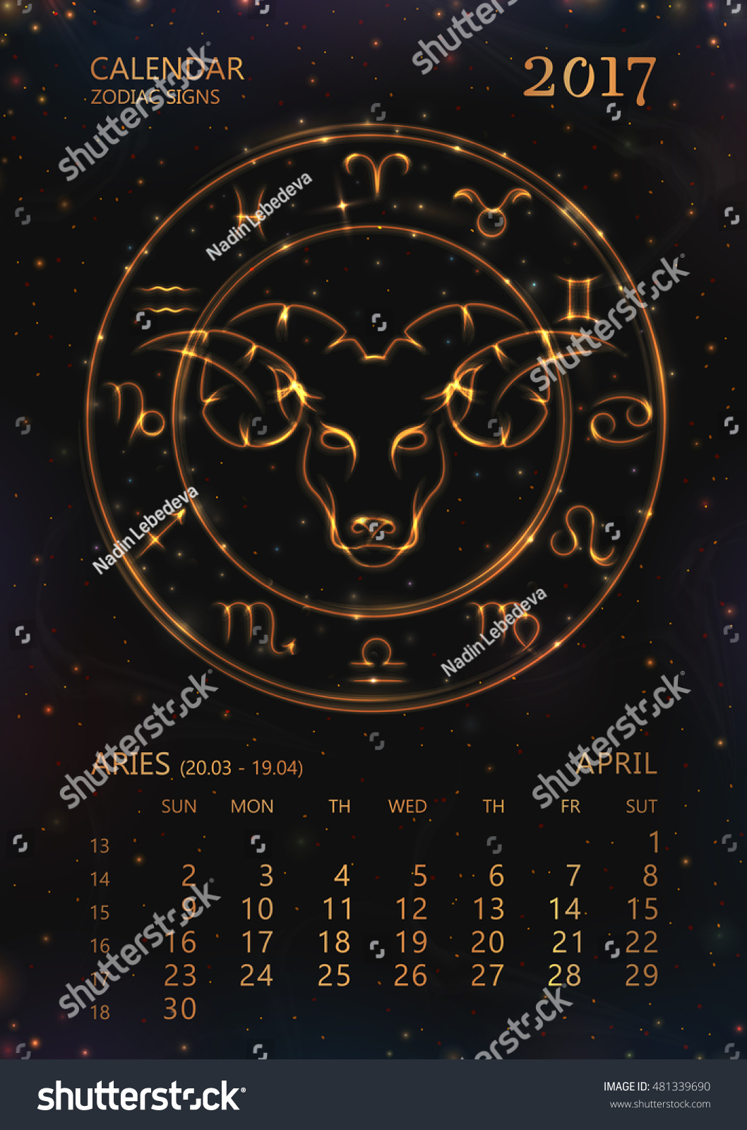 Zodiac Calendar April : Vector eps calendar year stock