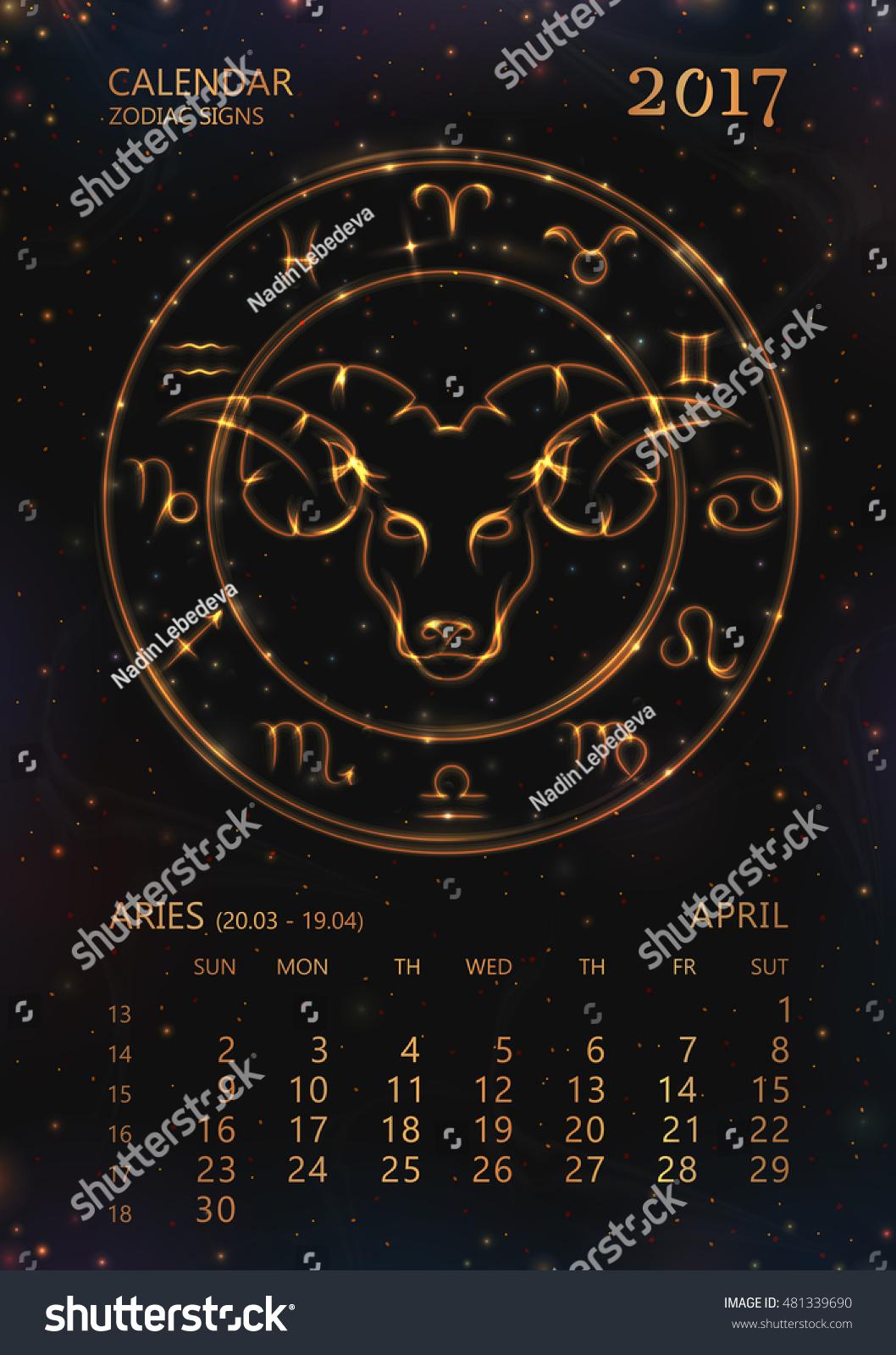 Zodiac Calendar April : Vector eps calendar year stock
