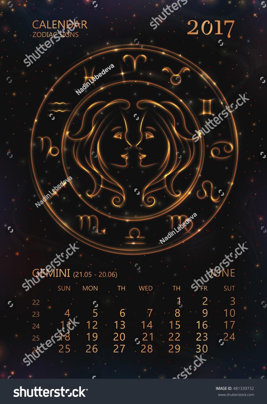 Zodiac Calendar June : Vector eps calendar year stock