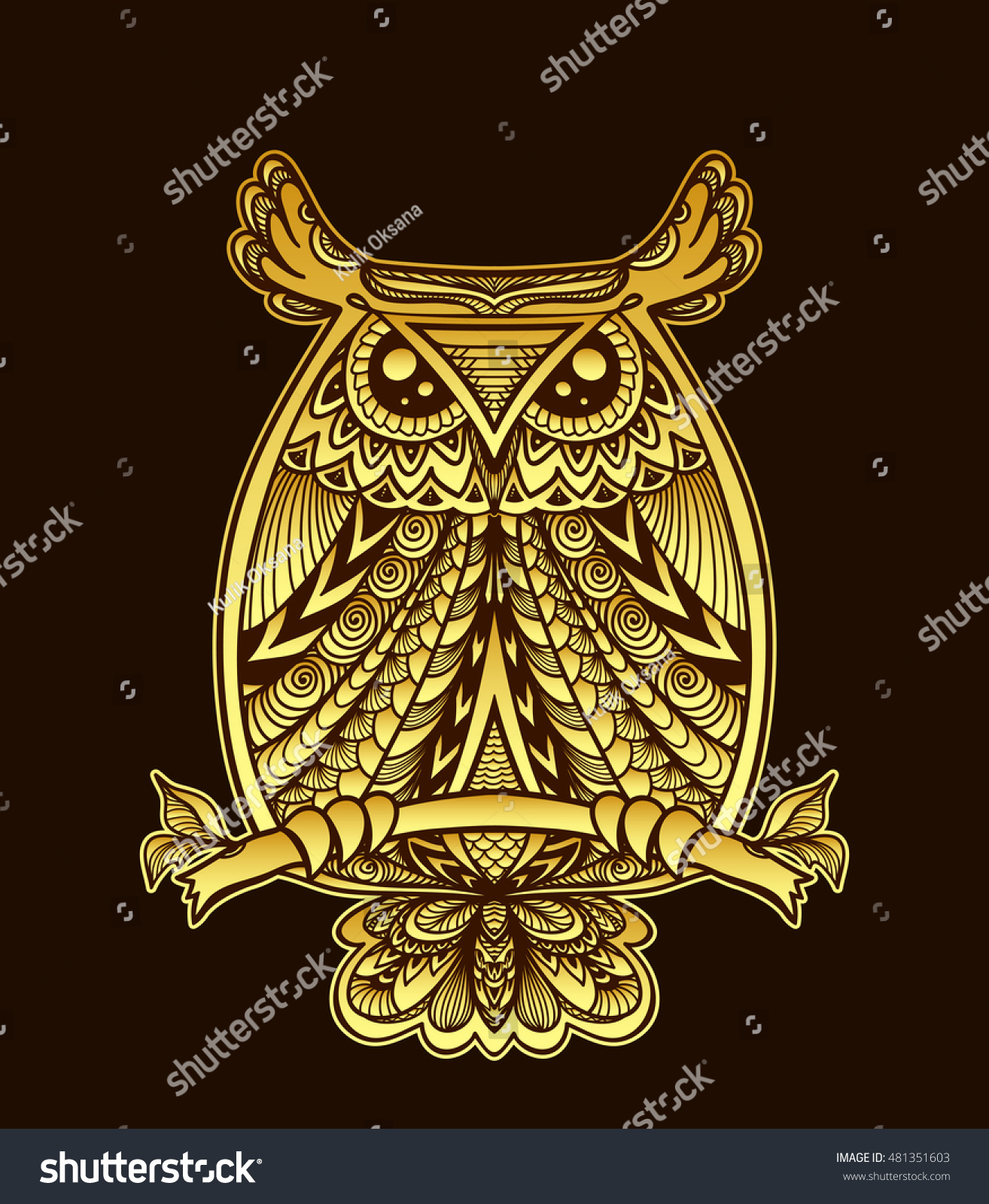 Cool Wallpaper Halloween Gold - stock-vector-owl-in-zen-doodle-or-zen-tangle-decorative-style-handmade-gold-on-black-for-halloween-or-for-481351603  Image_4818.jpg