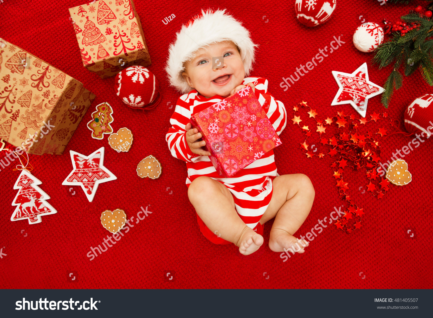 baby first christmas beautiful little baby stock photo