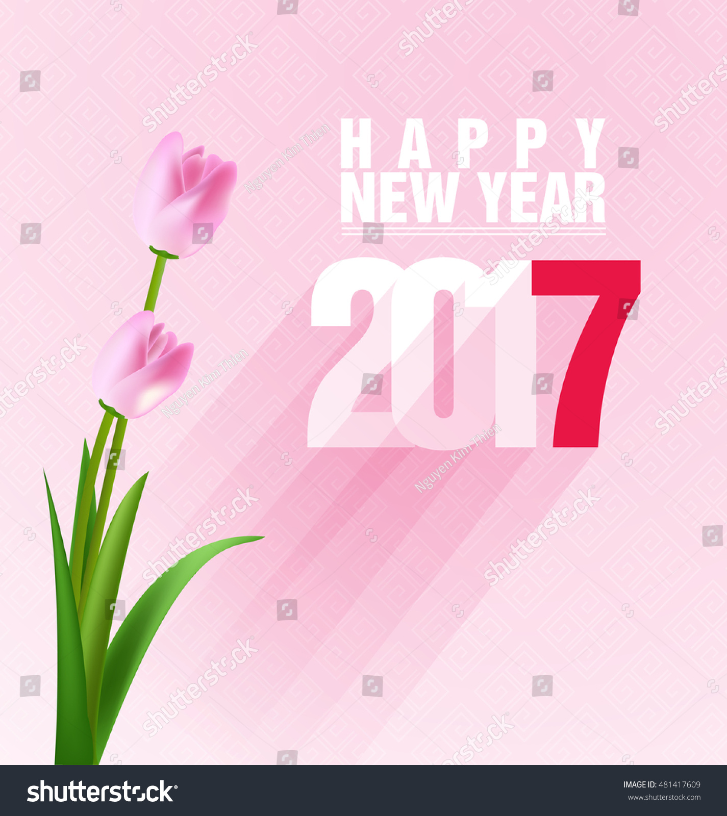 happy new year greeting card 2017 celebration background with flowers