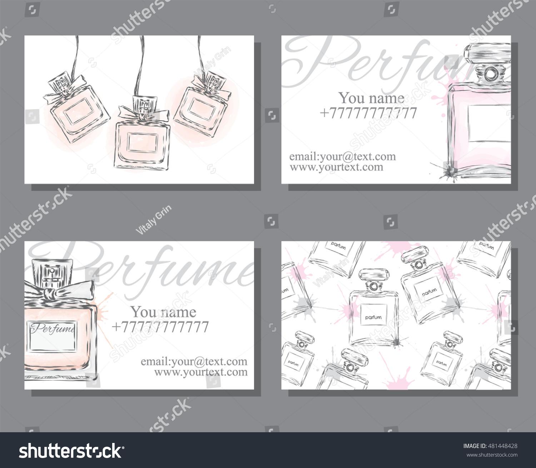 Set Business Cards Bottle Perfume Design Stock Vector 481448428 ...