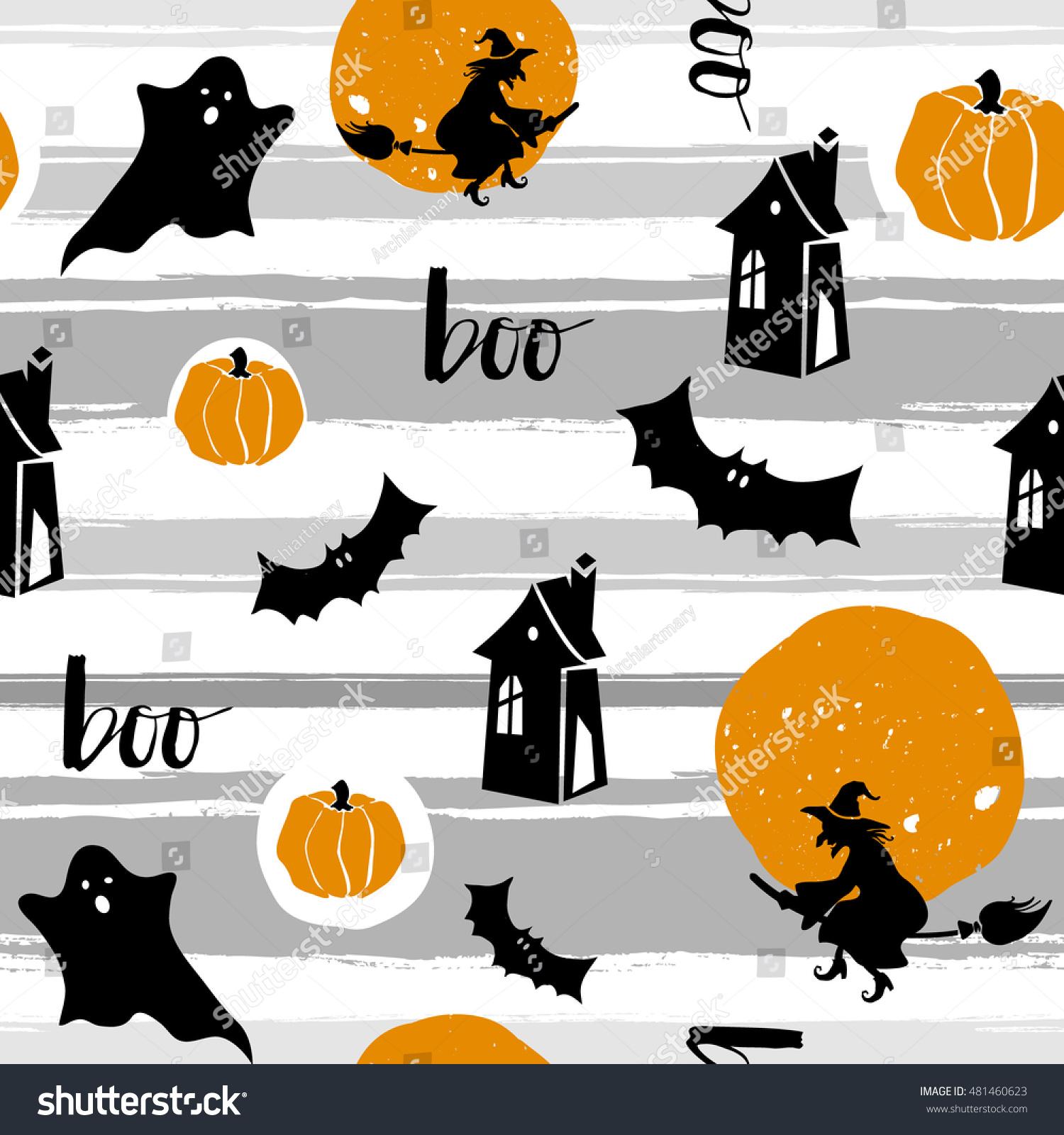 Halloween Seamless Pattern Texture Bat Pumpkin Stock Vector (2018 ...