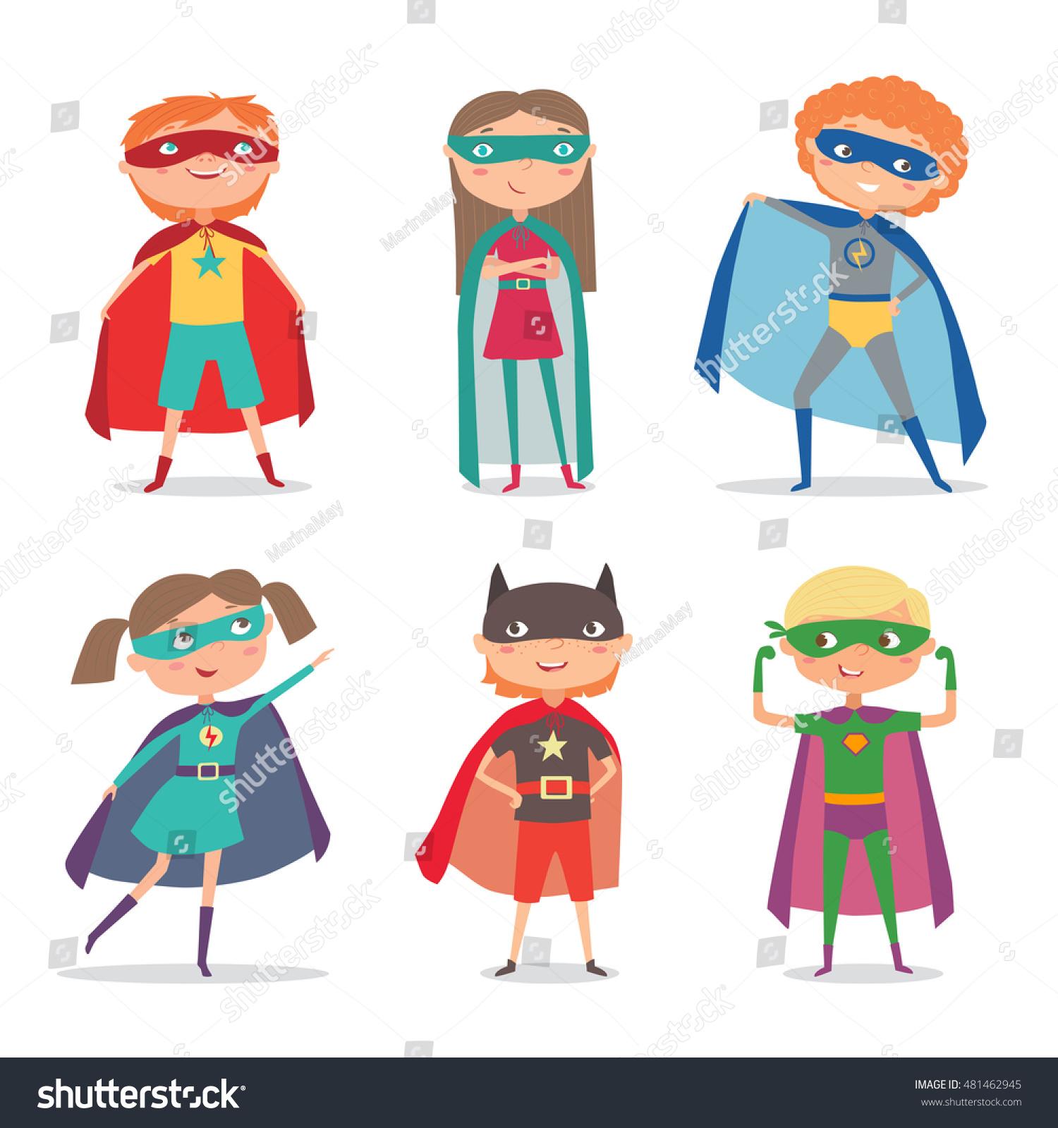 Superhero Kids Boys Girls Super Kids Stock Vector 481462945 ...