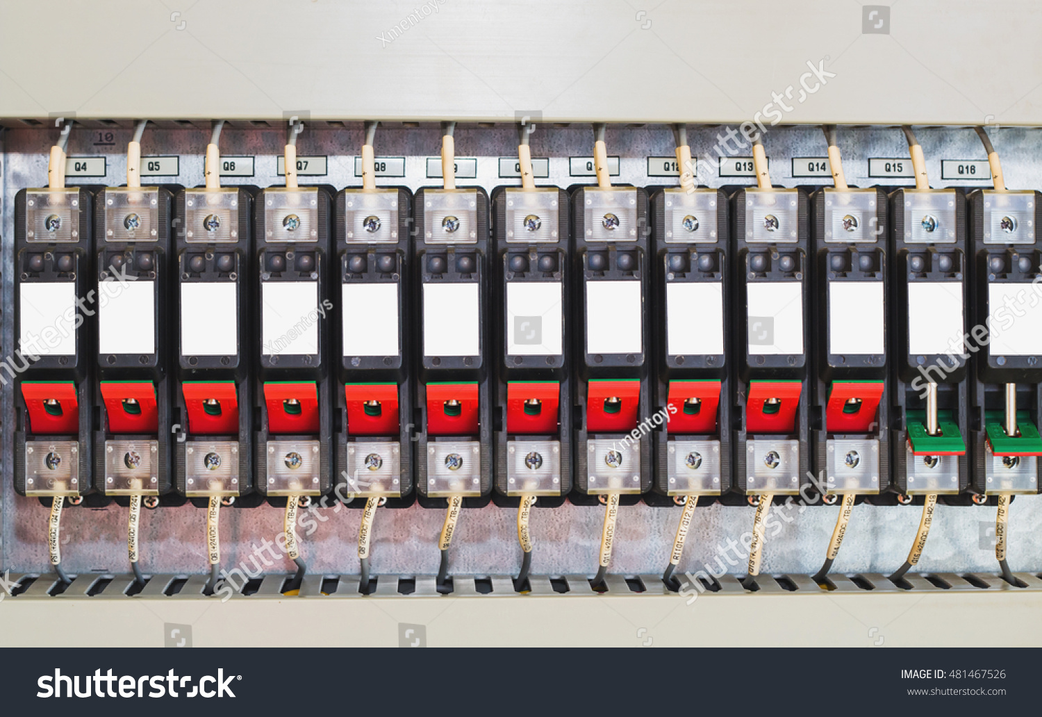 Circuit Breaker Fusebox Four Automatic Fuses Electricity Stock Photo Fuse Box Breakerfusebox With Distribution Electrical Cabinet