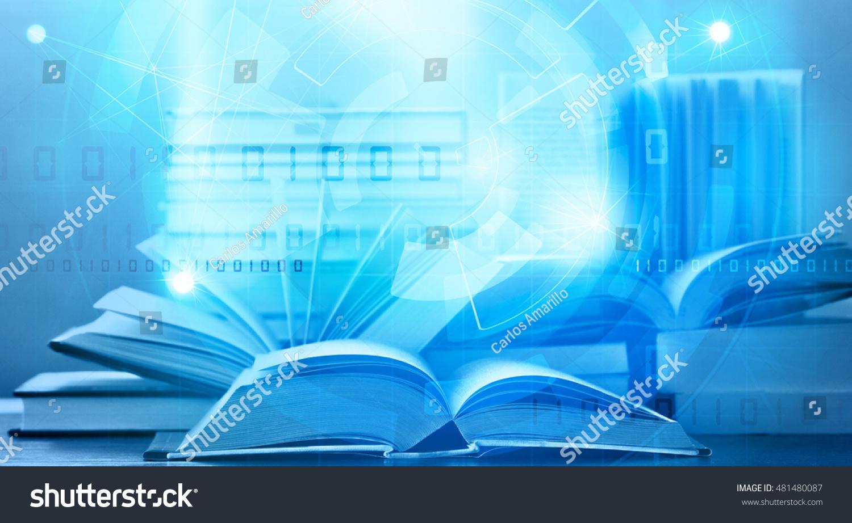 Open digital ebook blue tech background stock illustration open digital ebook with blue tech background elearning concept fandeluxe Document