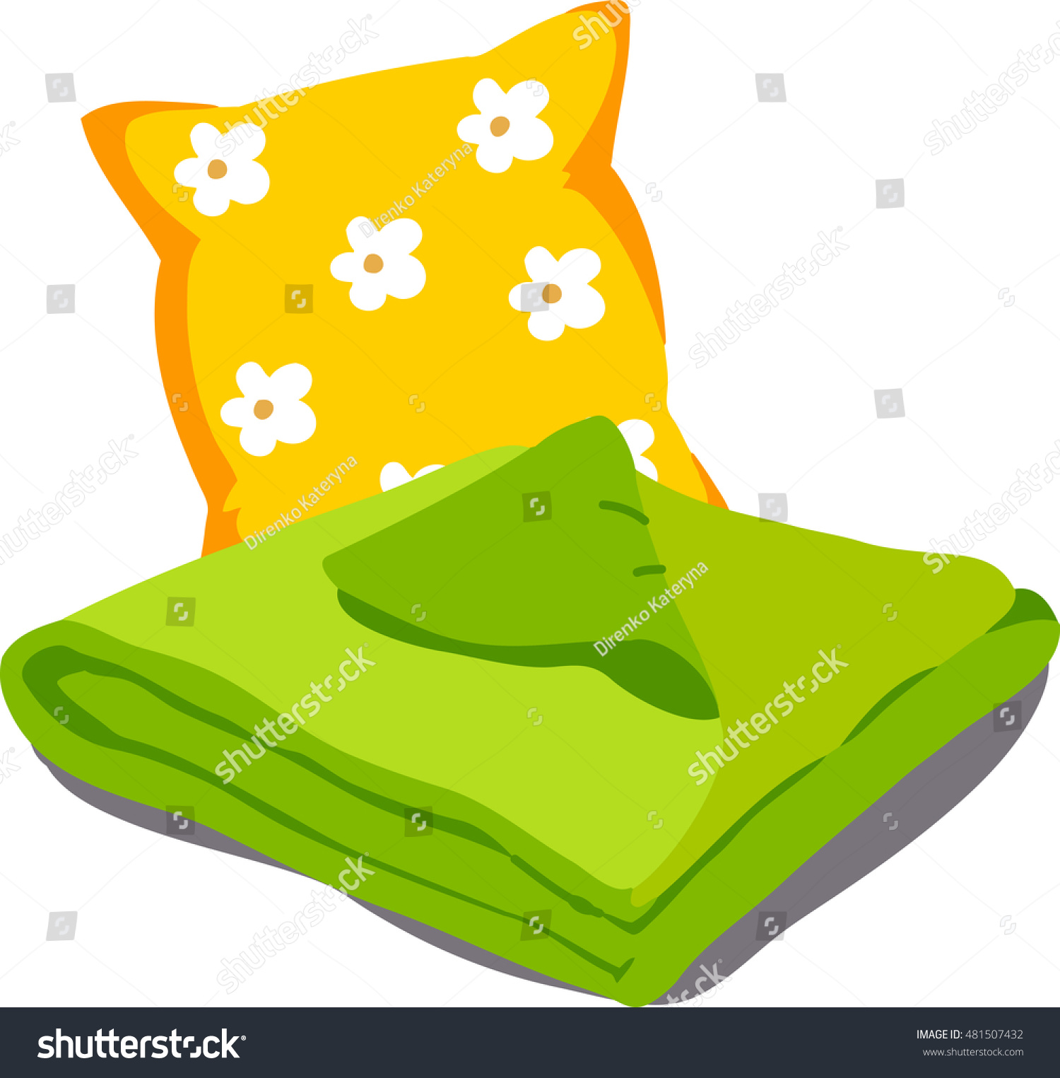 Color Bed Linen Pillows Sheets Blankets Stock Vector 481507432 ... for Pillow And Blanket Clipart  143gtk