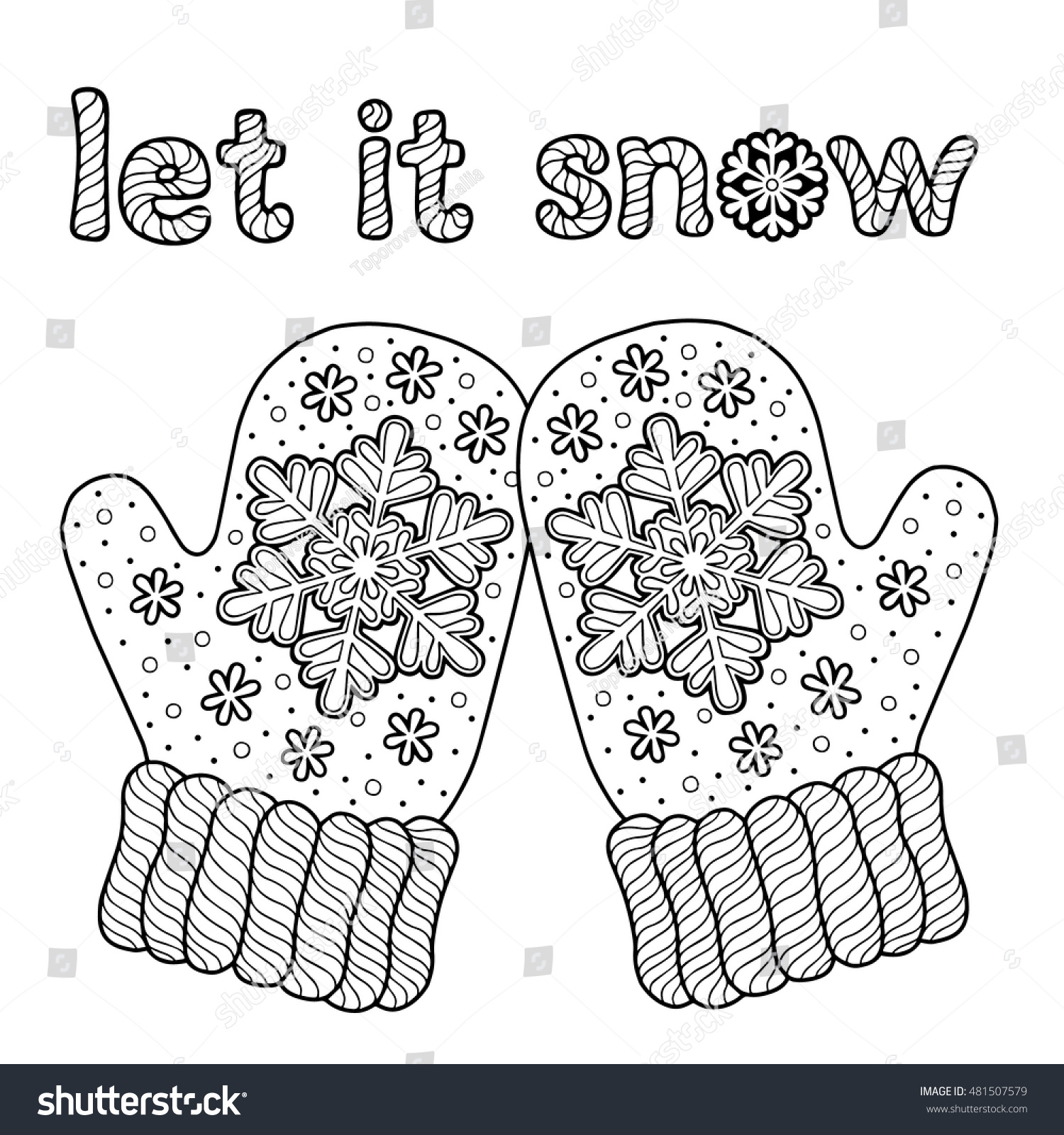Let Snow Coloring Page Adults Hand Stock Vector (Royalty Free ...