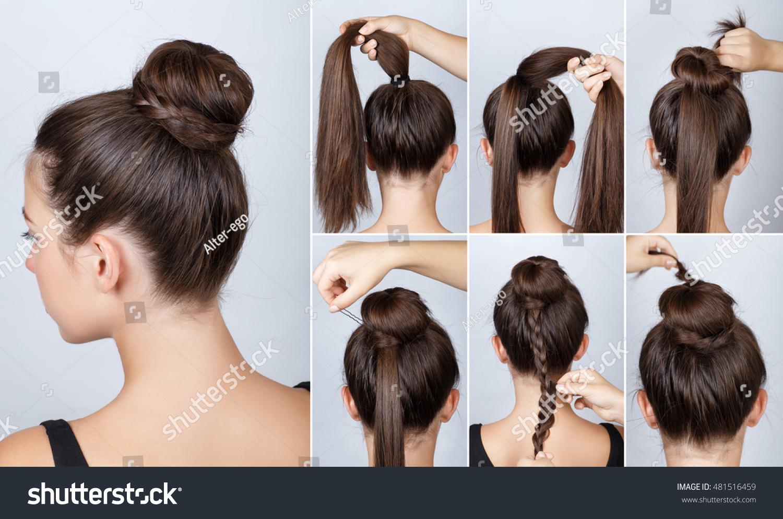 Hairstyle Tutorial Elegant Bun Braid Simple Stock Photo - Hairstyle bun tutorials