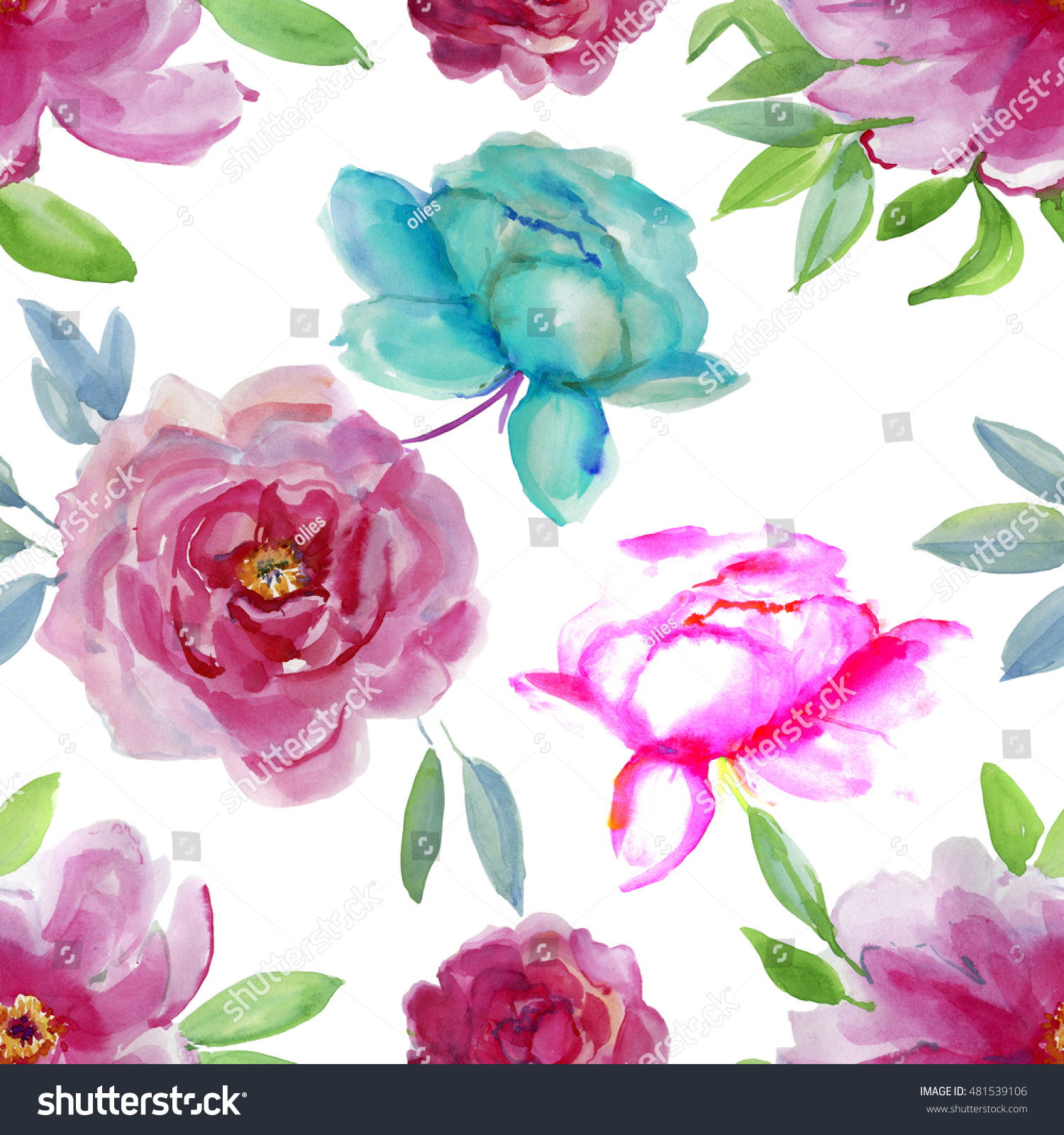 Repeating pink and blue flowers watercolor floral pattern tropical id 481539106 izmirmasajfo