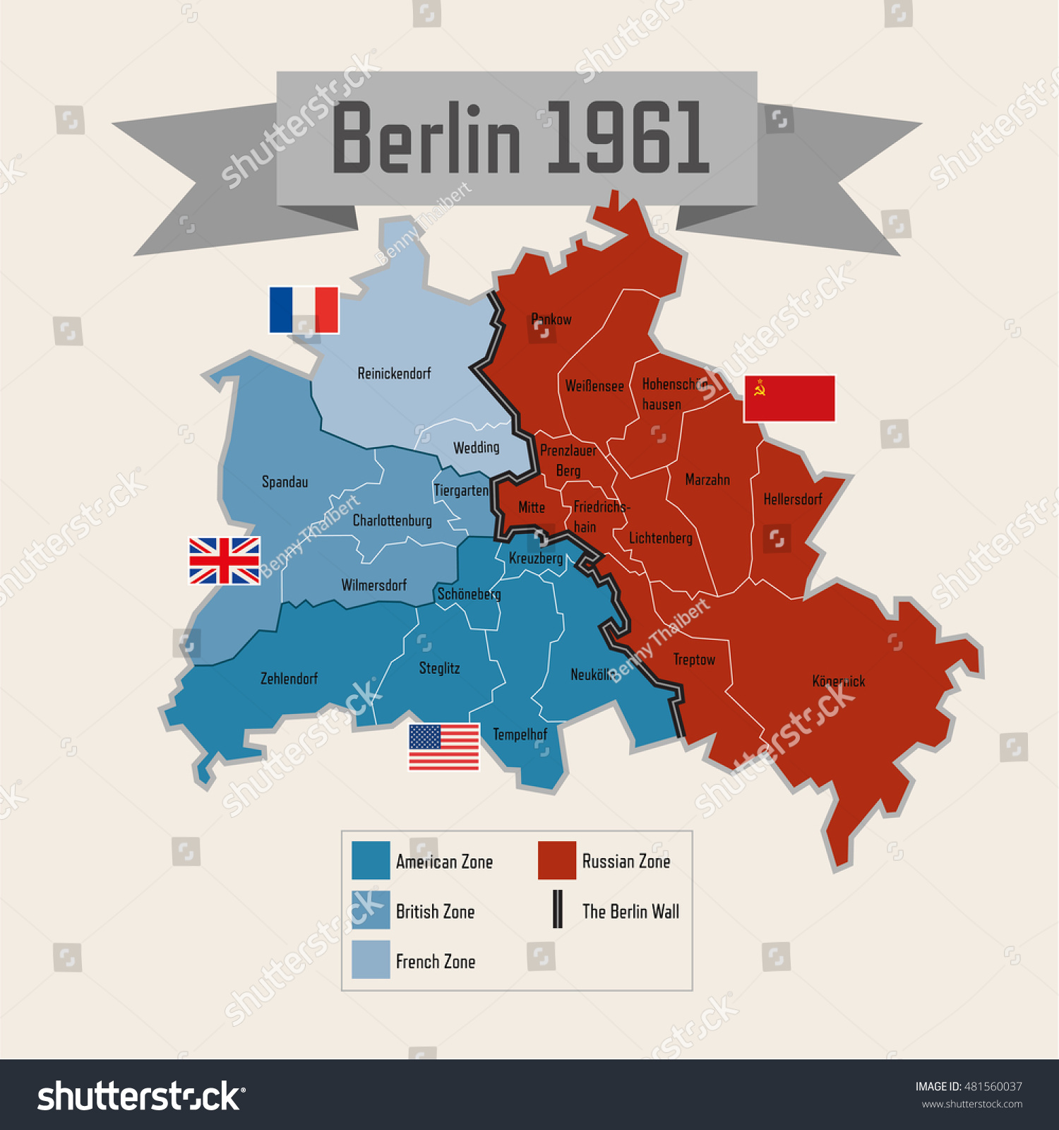 Berlin Germany Cold War Division Zones Stock Vector - Germany map zones