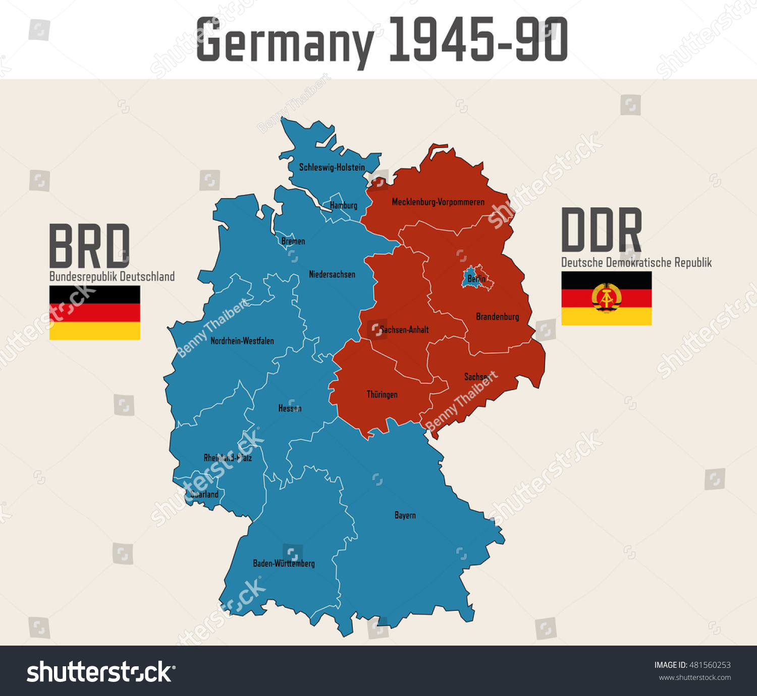 Germany Cold War Map Flags Eastern Stock Vector 481560253