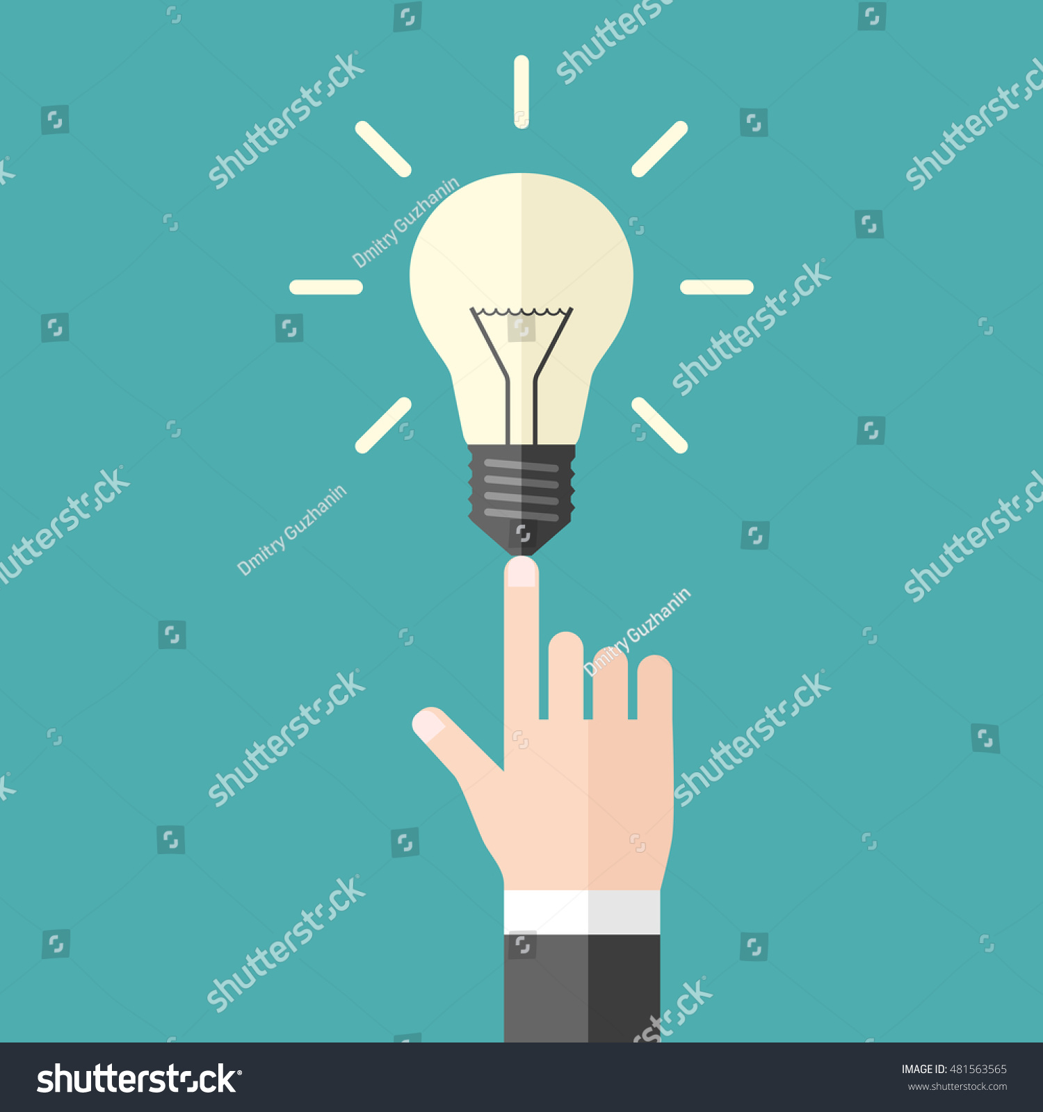 Hand Shining Light Bulb On Blue Stock Vector Royalty Free Diagram Of Incandescent With Background Aha Moment Innovation And Inspiration Concept