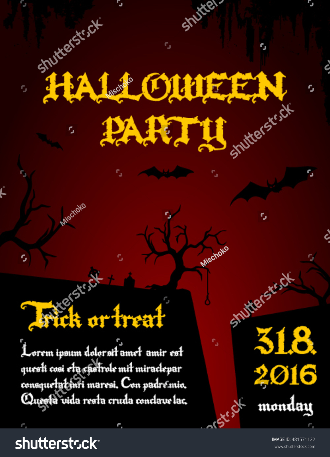 Halloween Party Flyer Template Stock Vector Royalty Free 481571122