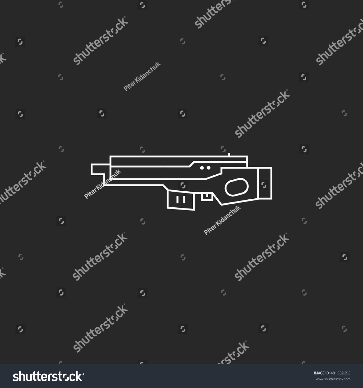 Futuristic Large Laser Gun Rifle Symbol Stock Vector Royalty Free