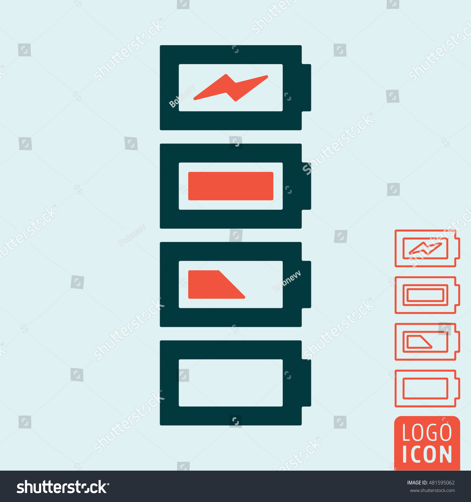 Battery Icon Charge Level Indicator Stock Vector Royalty Illustration