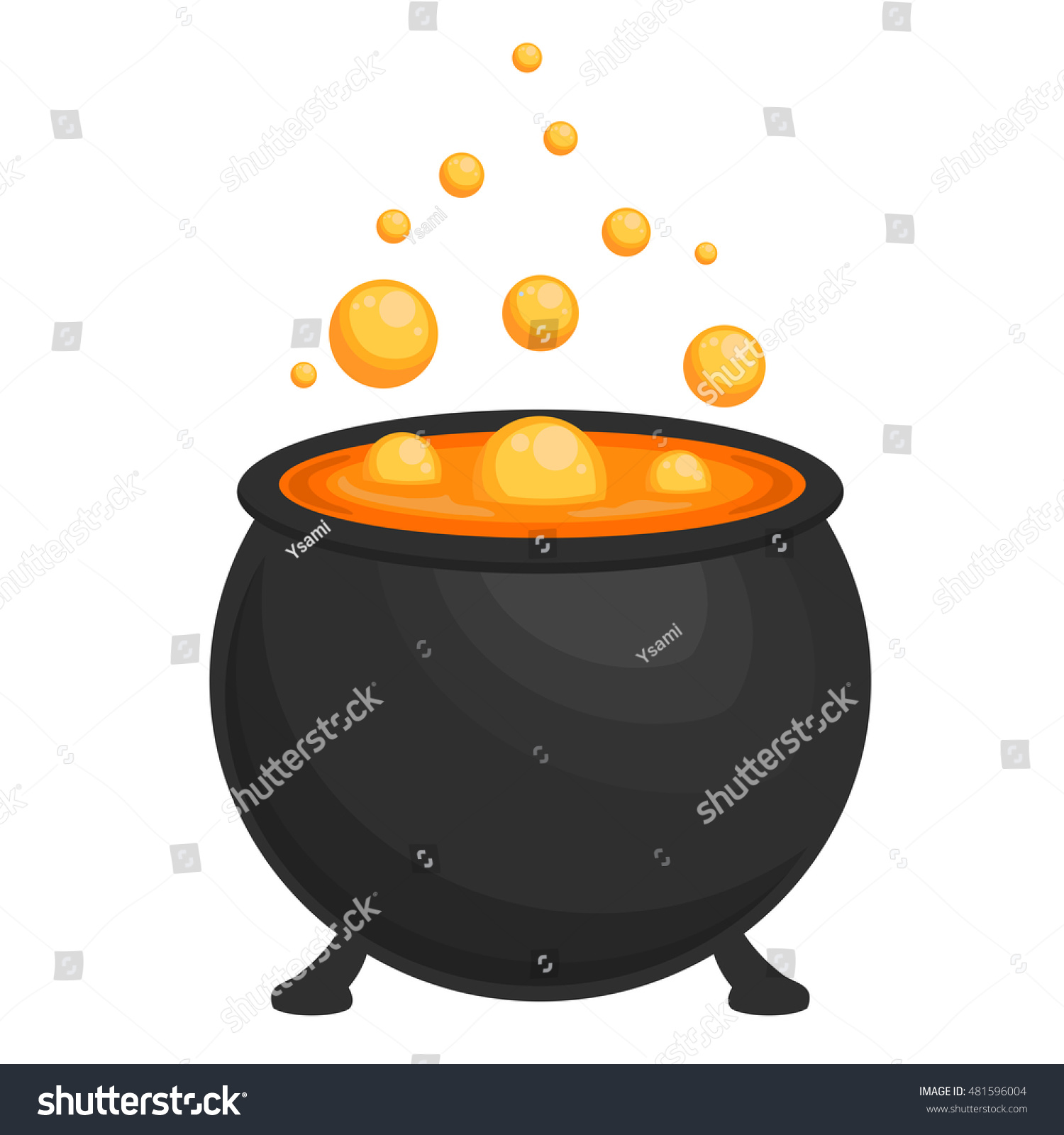 Halloween Cauldron On White Background Stock Vector 481596004 ...