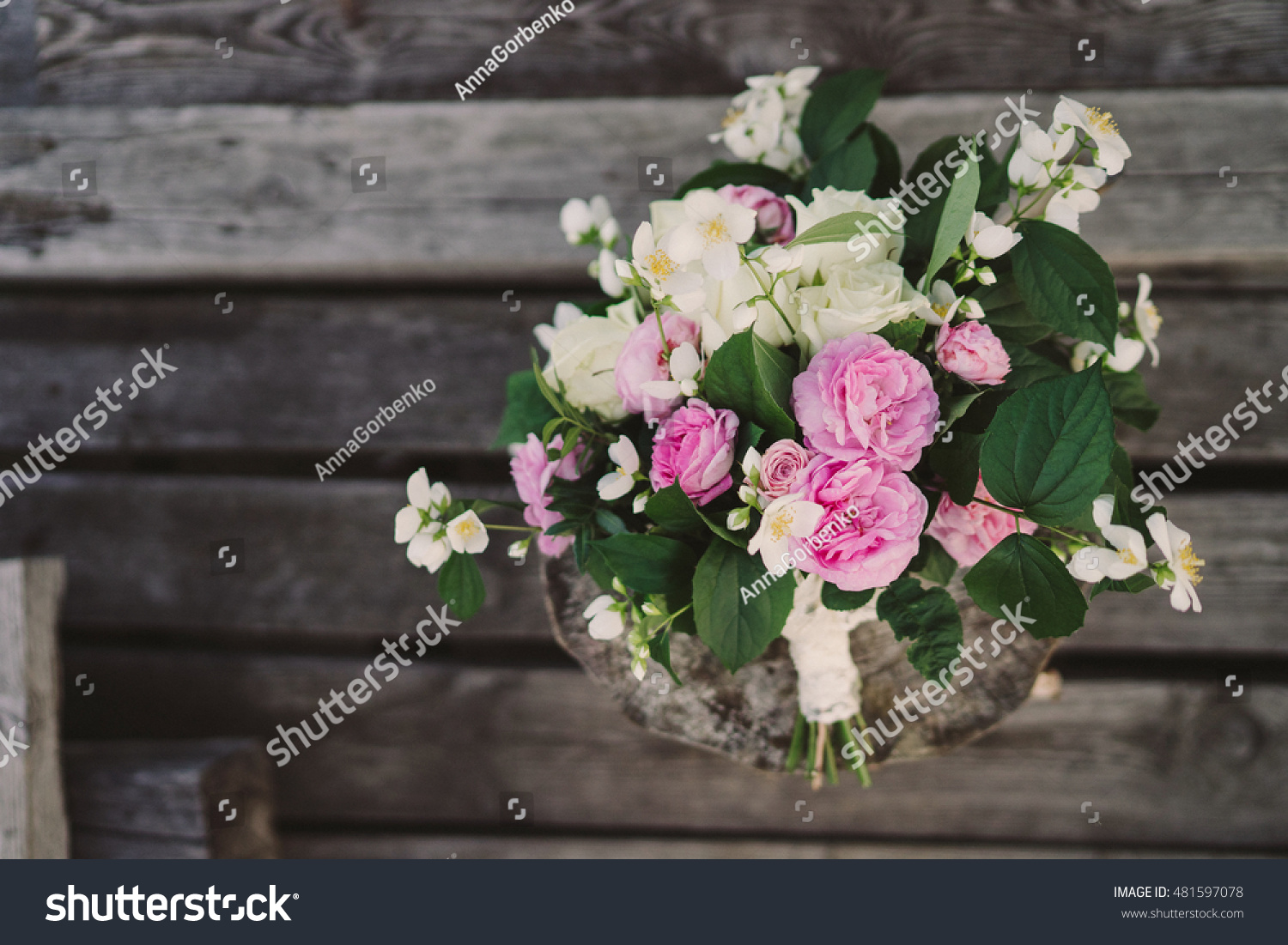 Beautiful Bouquet Of Jasmine And Pink Garden Roses With Lace Ribbons