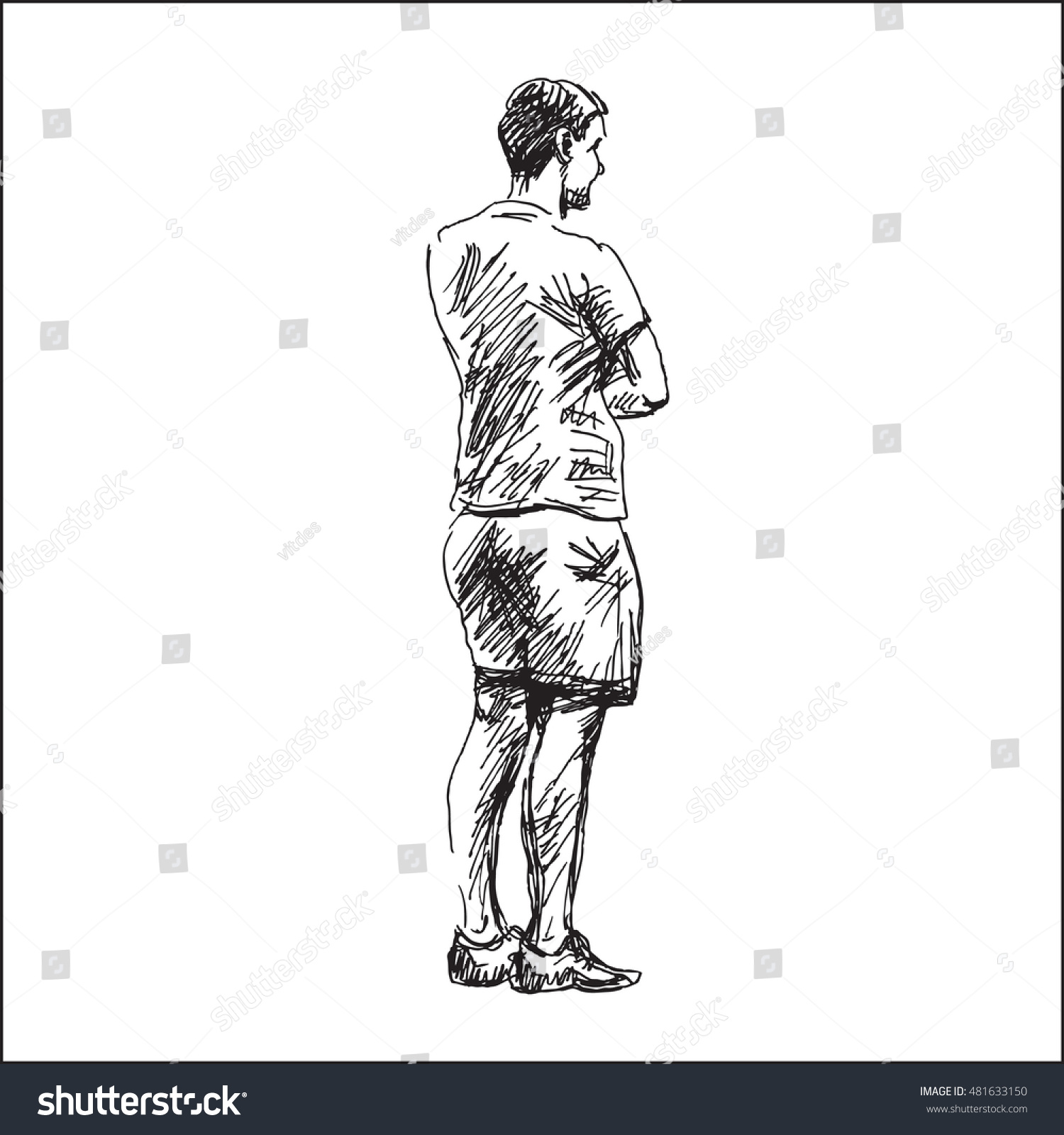 Casual Standing Man View Back Vector Stock Vector ...