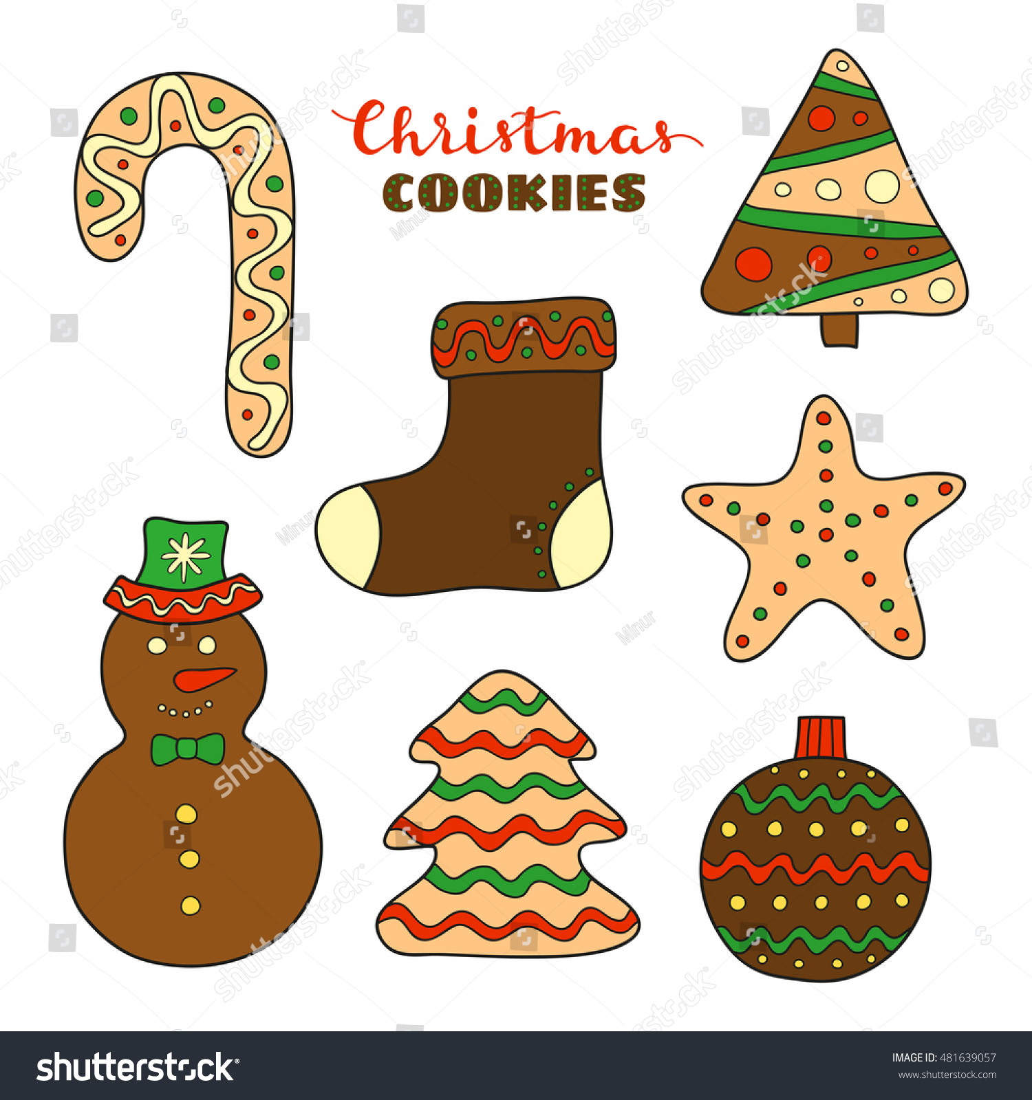 Hand Drawn Christmas Cookies Icing Decor Stock Vector (Royalty Free ...