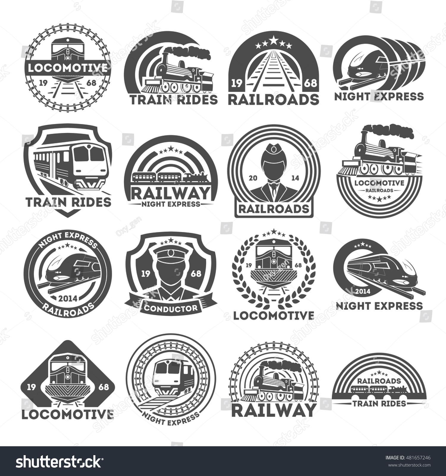 Train railroad logo signs symbols railway stock vector 481657246 train or railroad logo signs and symbols railway train emblems and badges collection biocorpaavc